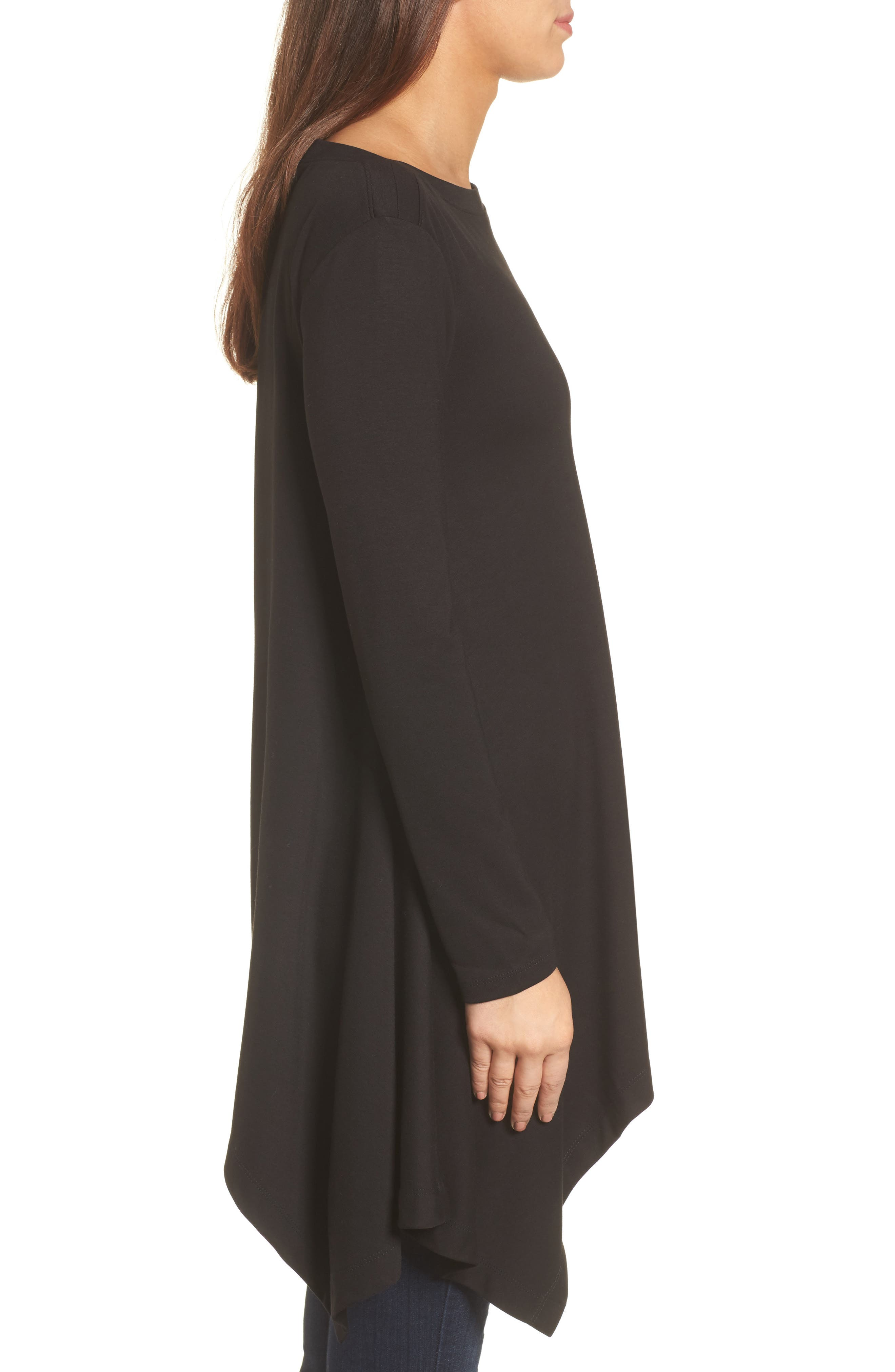 Boatneck Asymmetrical Tunic,                             Alternate thumbnail 3, color,                             BLACK