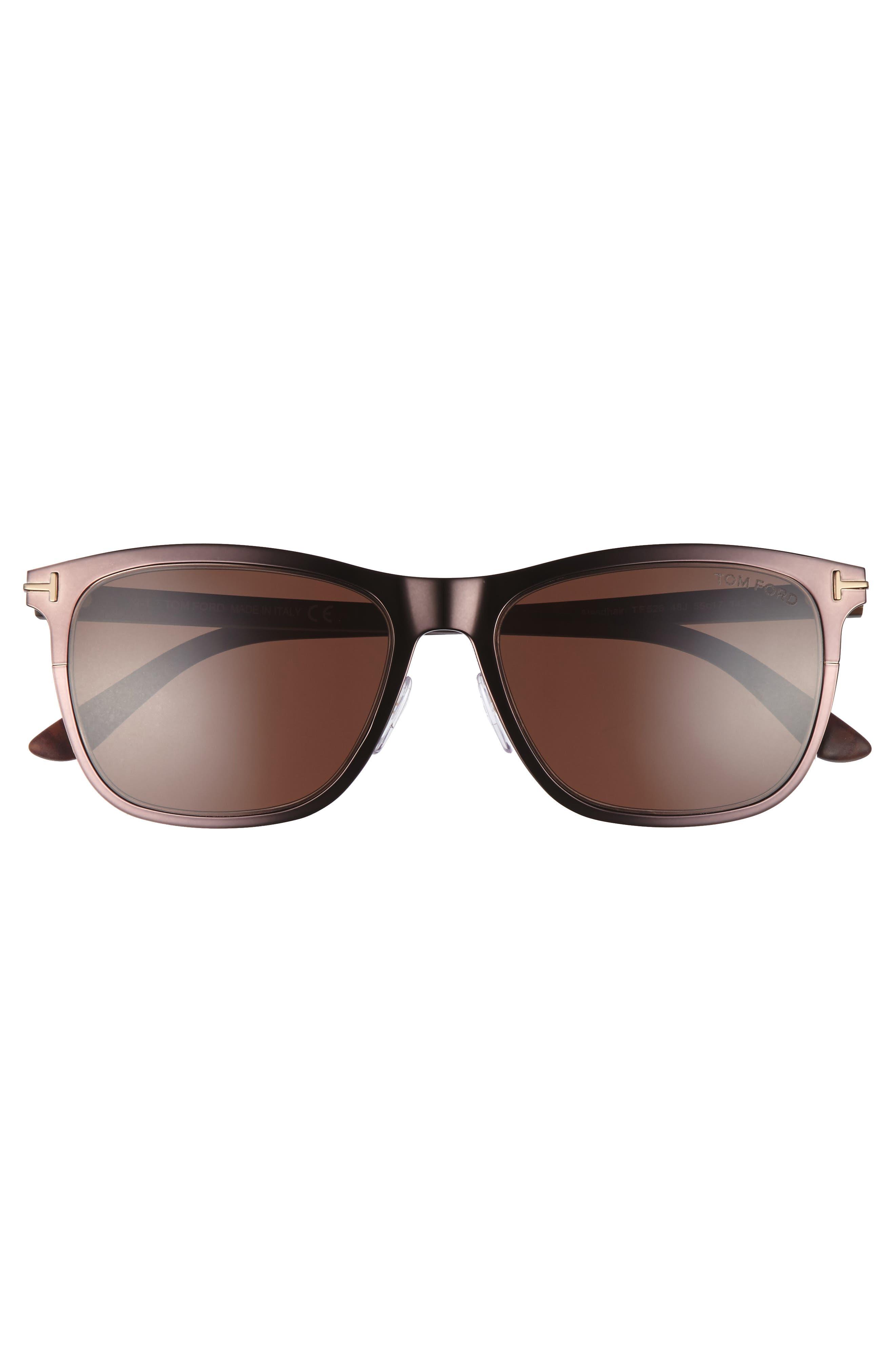 Alasdhair 55mm Sunglasses,                             Alternate thumbnail 2, color,                             SHINY DARK BROWN/ ROVIEX
