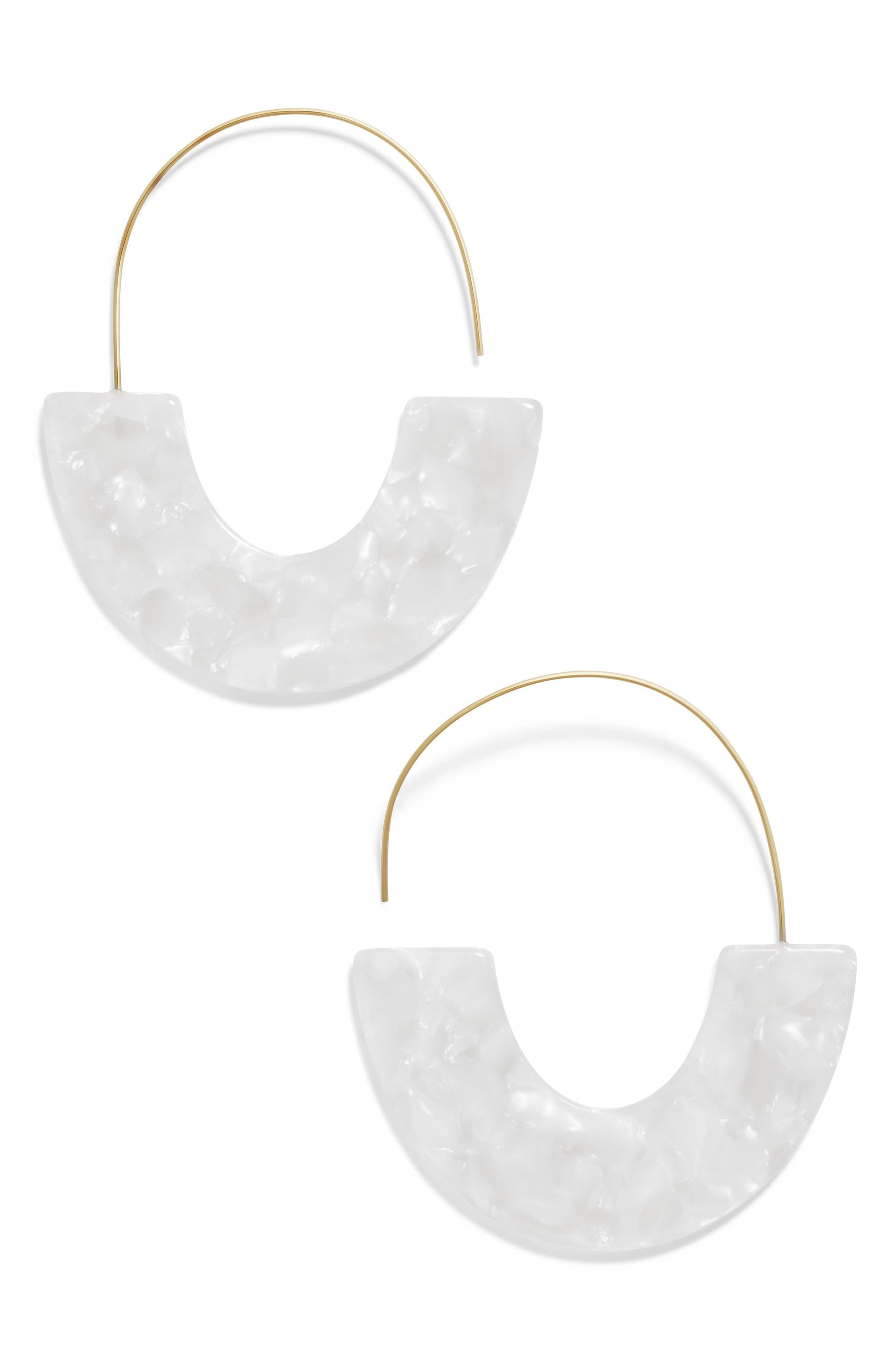 BAUBLEBAR Faidra Thin Drop Acrylic Oval Hoop Earrings in Cream