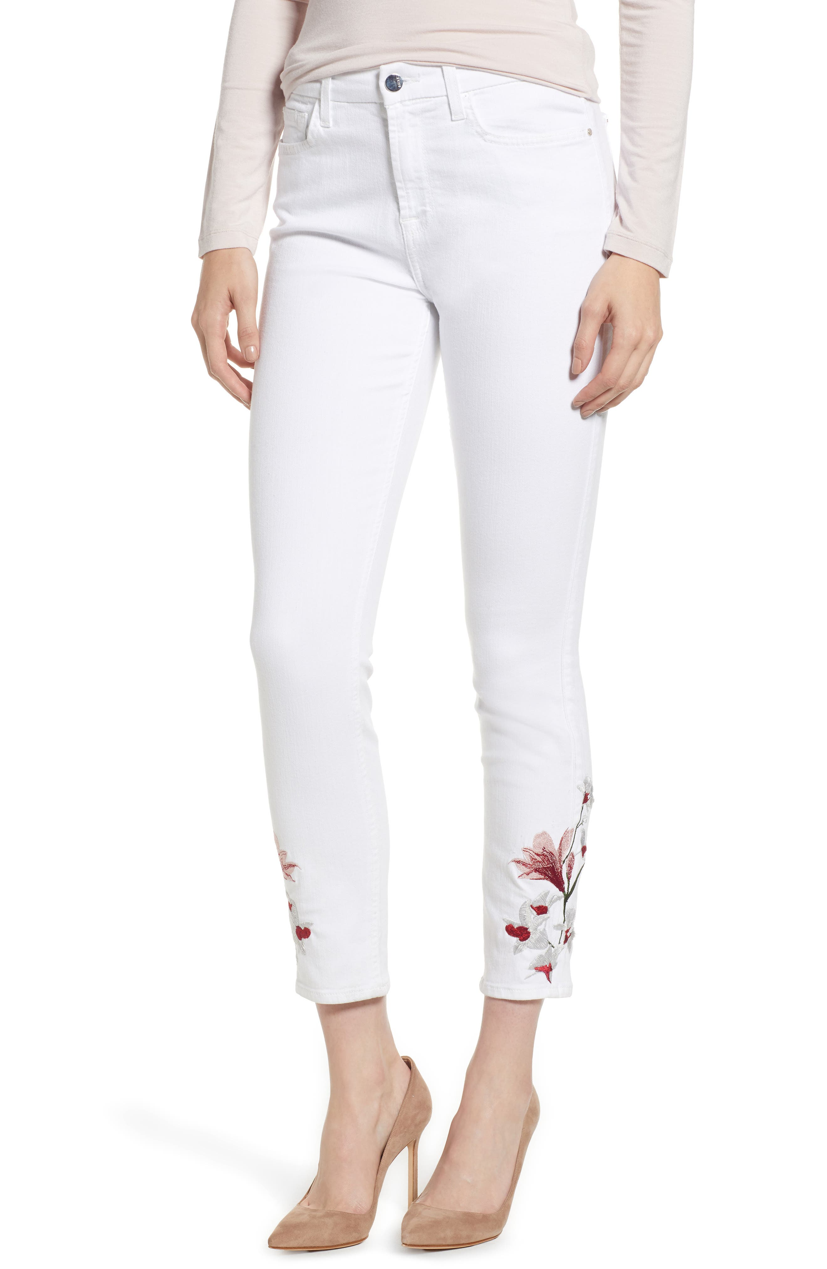 Embroidered Ankle Skinny Jeans,                         Main,                         color, 101