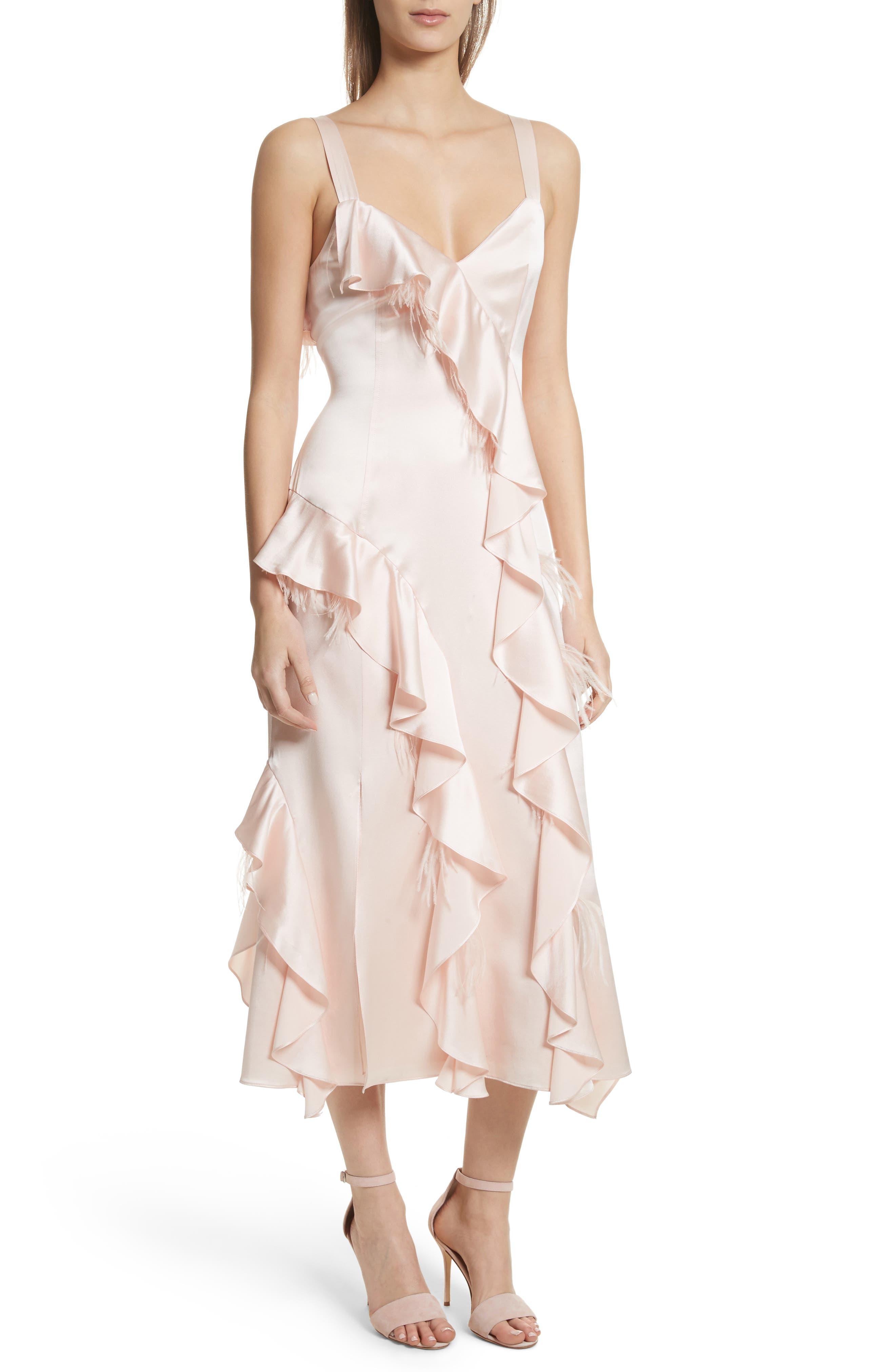Gigi Ruffle & Ostrich Feather Silk Dress,                             Main thumbnail 1, color,                             655