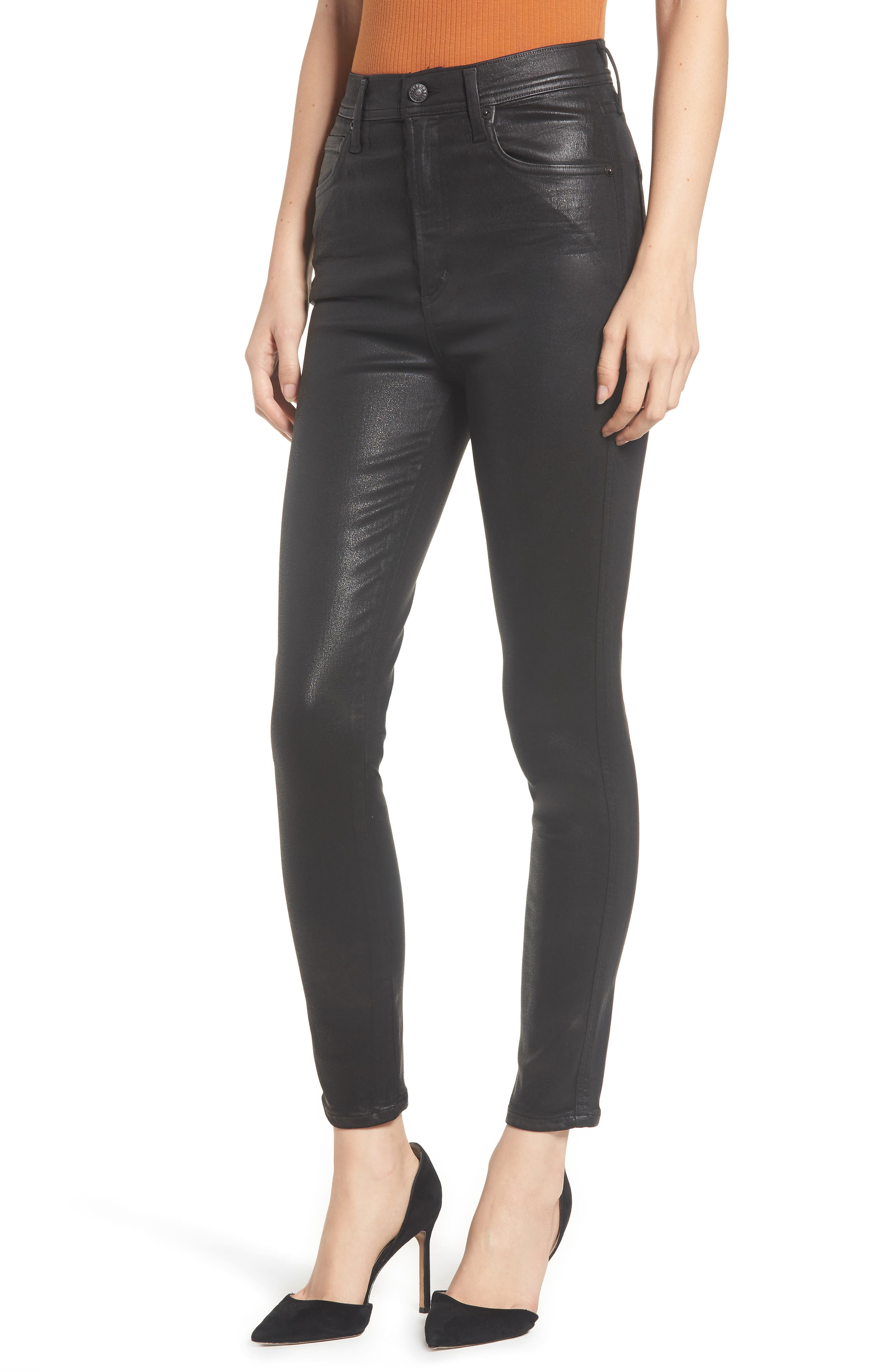 Roxanne Faux Leather High Waist Ankle Skinny Pants, Main, color, BLACK LEATHERETTE