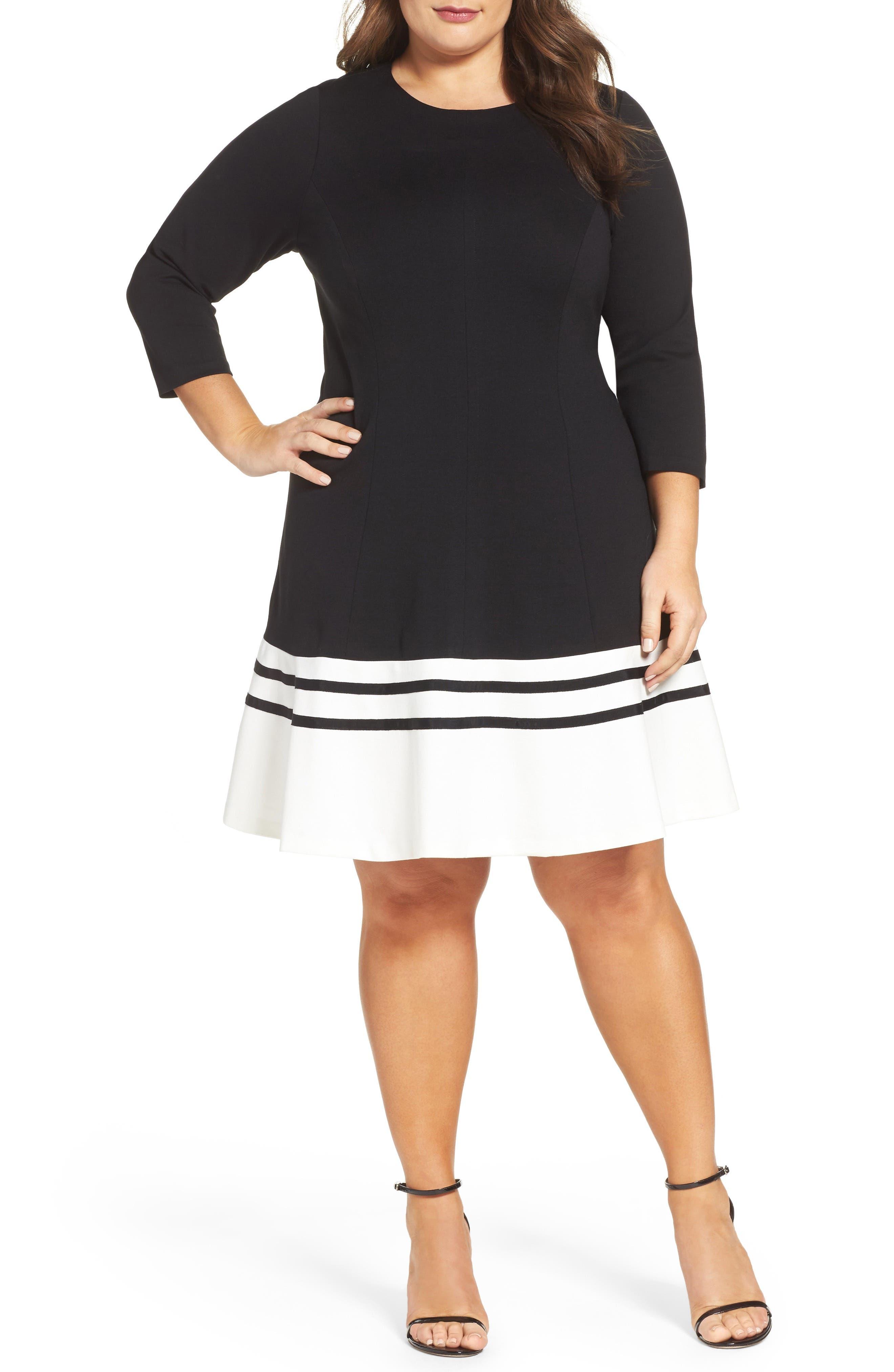 Ponte Fit & Flare Dress,                             Main thumbnail 1, color,                             BLACK/ IVORY