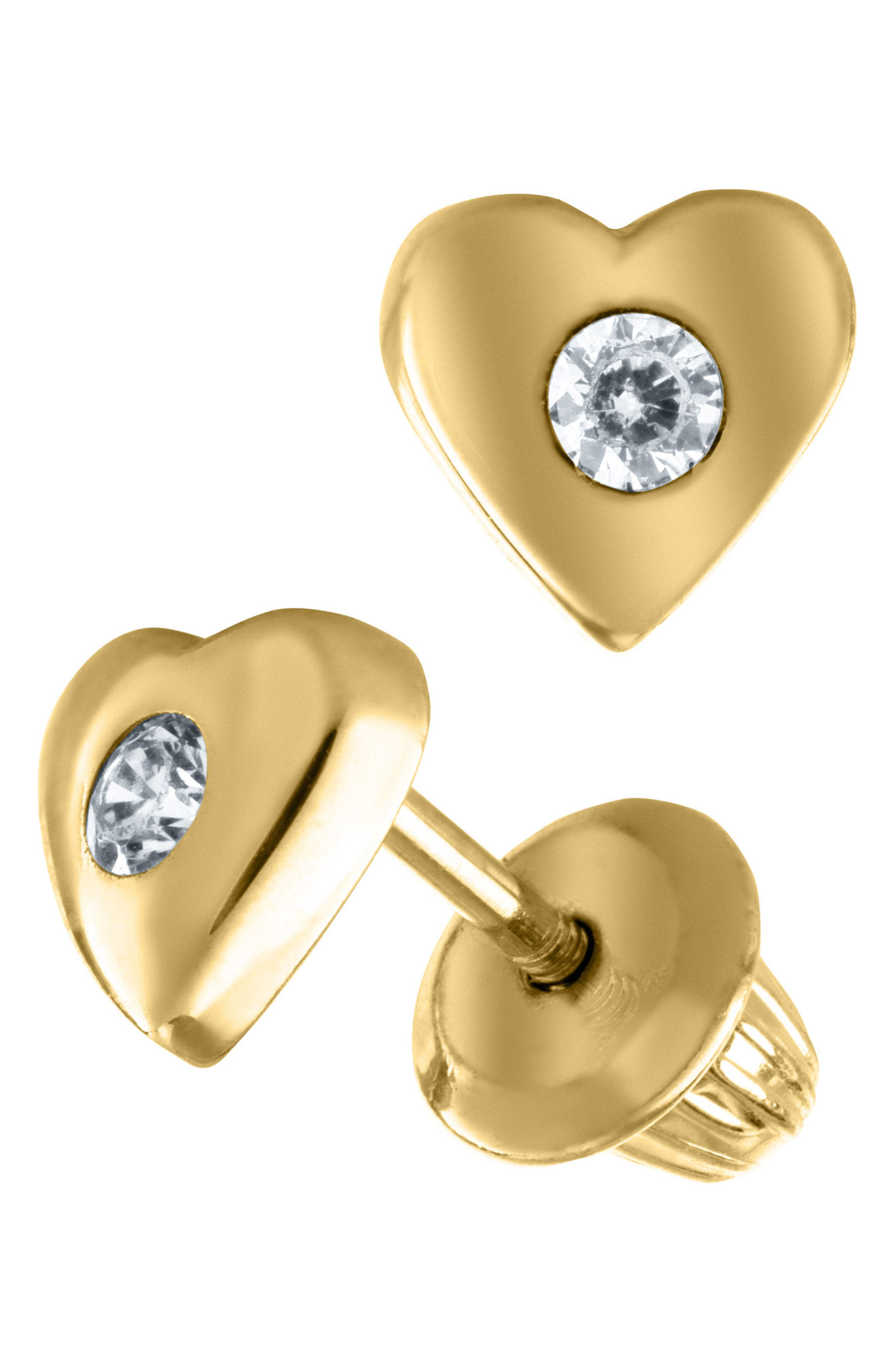 14k Gold & Cubic Zirconia Heart Earrings,                             Alternate thumbnail 2, color,                             GOLD