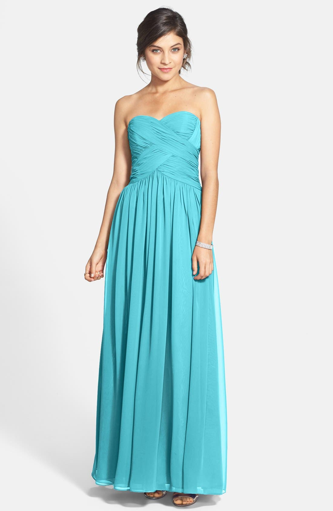 Strapless Ruched Chiffon Gown,                             Main thumbnail 3, color,