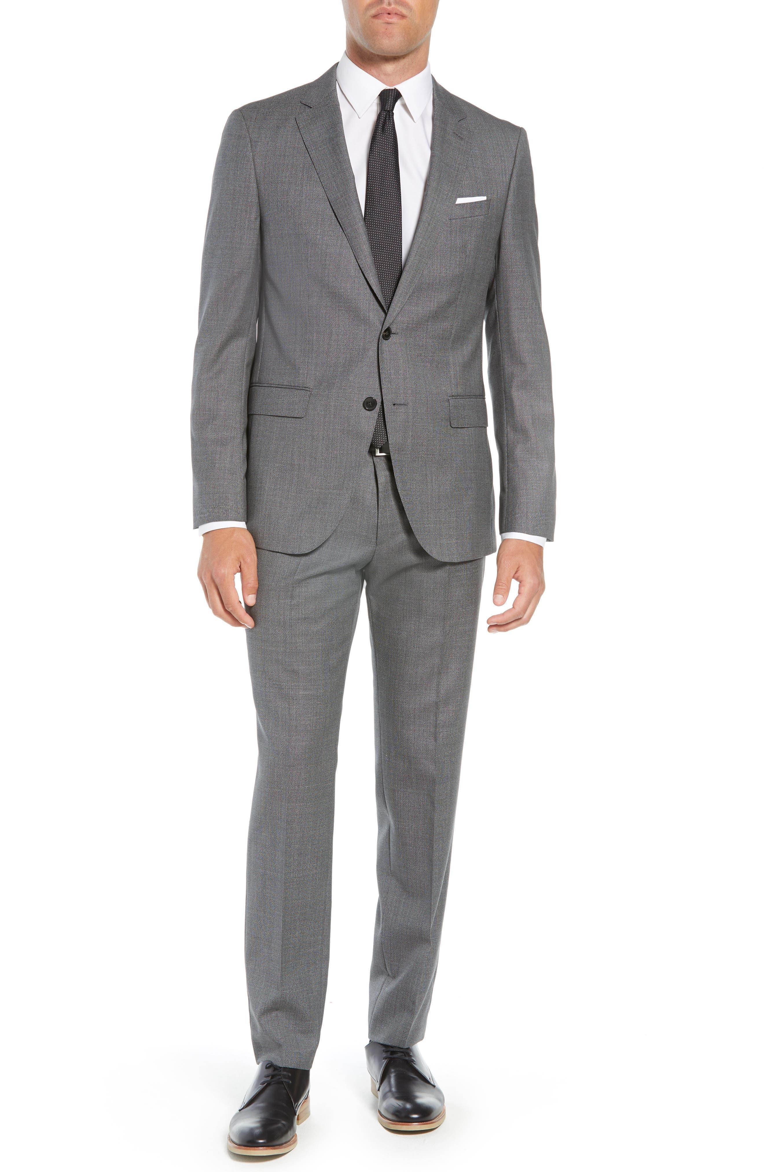 Novan/Ben Trim Fit Solid Wool Suit,                         Main,                         color, GREY