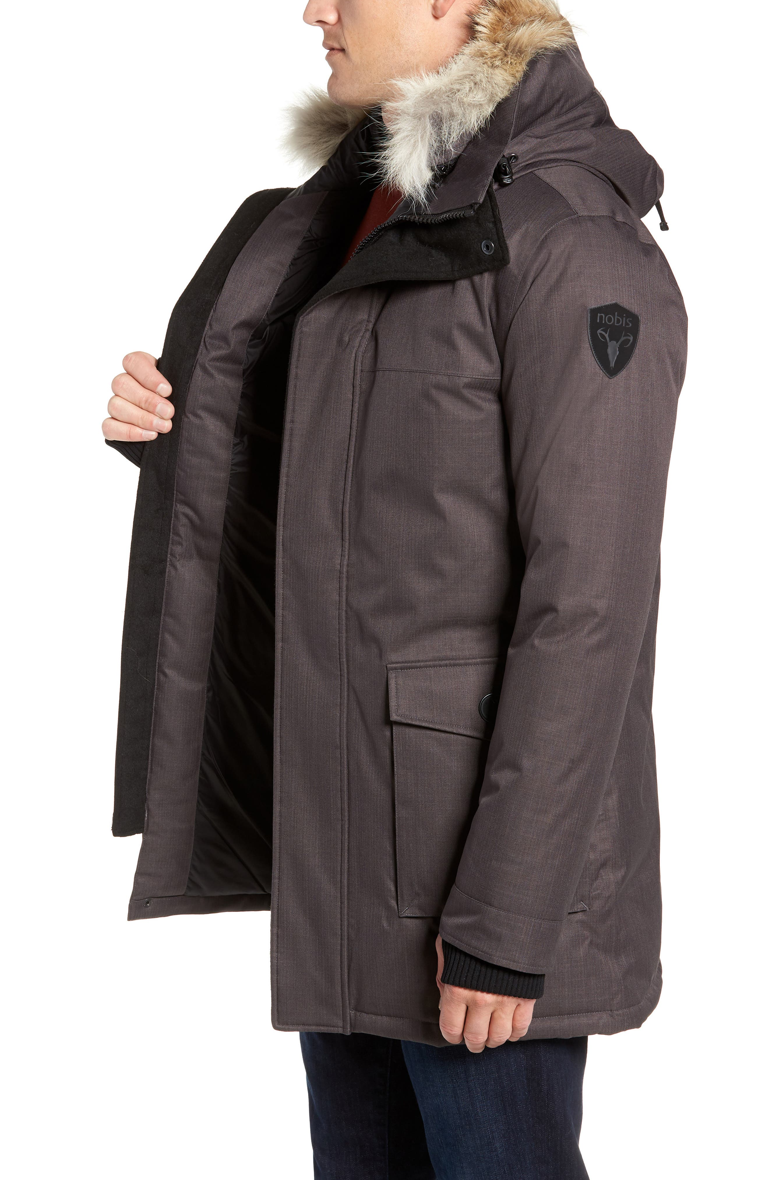 Yves Windproof & Waterproof 650 Fill Power Down Parka with Genuine Coyote Fur Trim,                             Alternate thumbnail 4, color,                             STEEL GREY