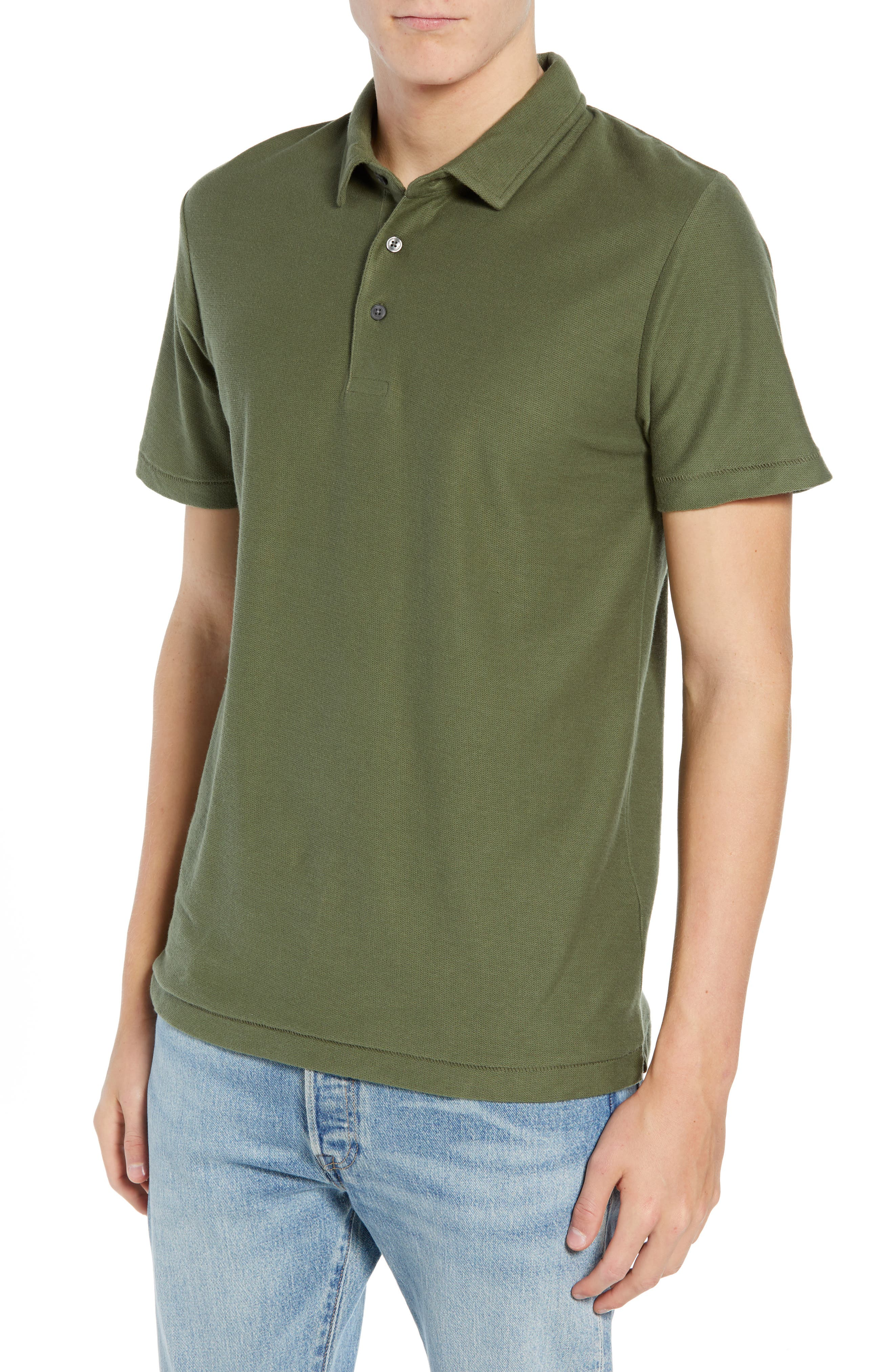 Solid Polo,                             Main thumbnail 1, color,                             INFANTRY GREEN
