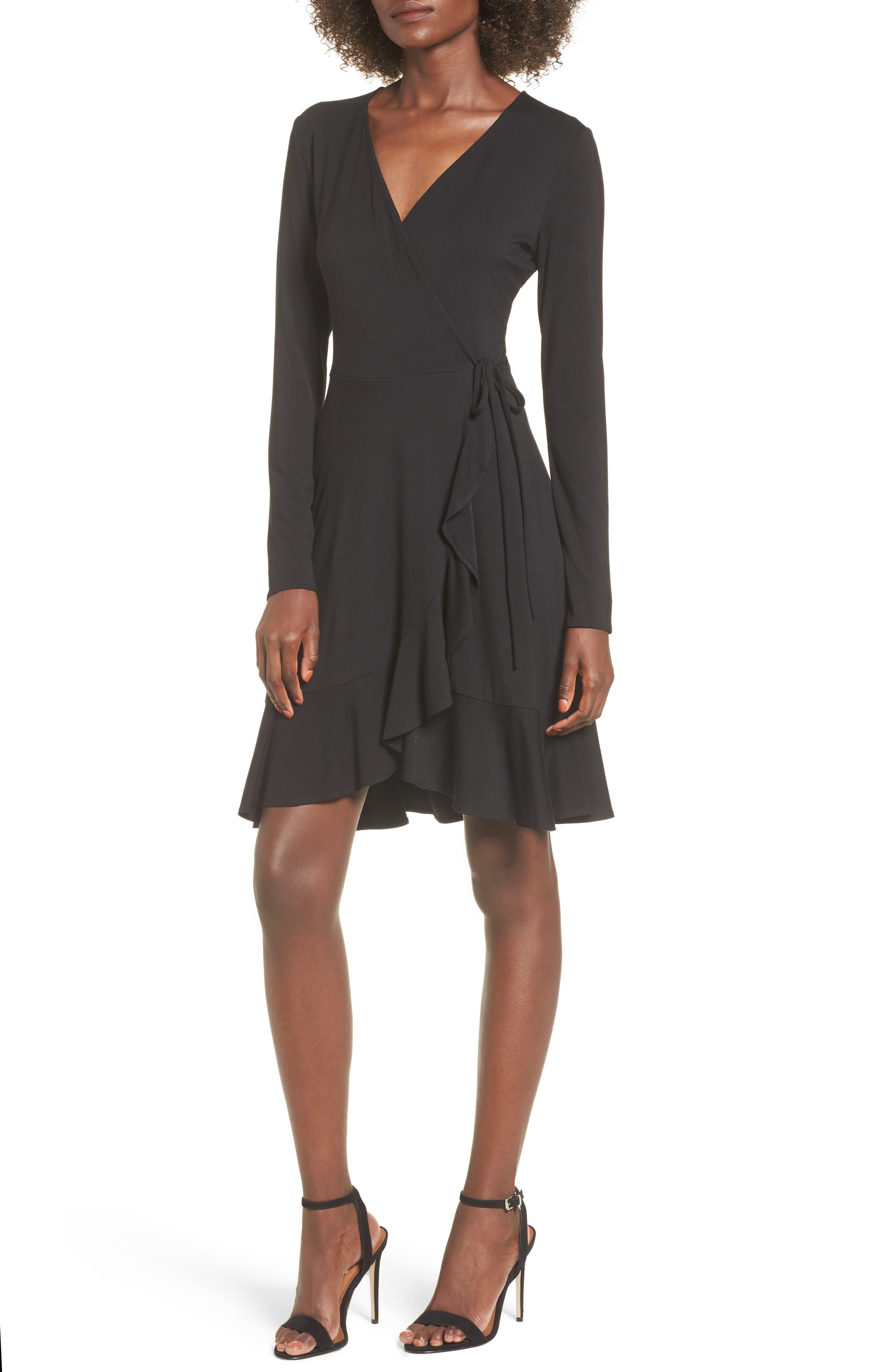 Ruffle Wrap Dress,                             Main thumbnail 1, color,                             003