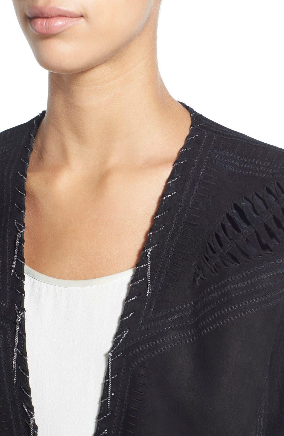 'Rhea' Chain Detail Suede Jacket,                             Alternate thumbnail 4, color,                             001