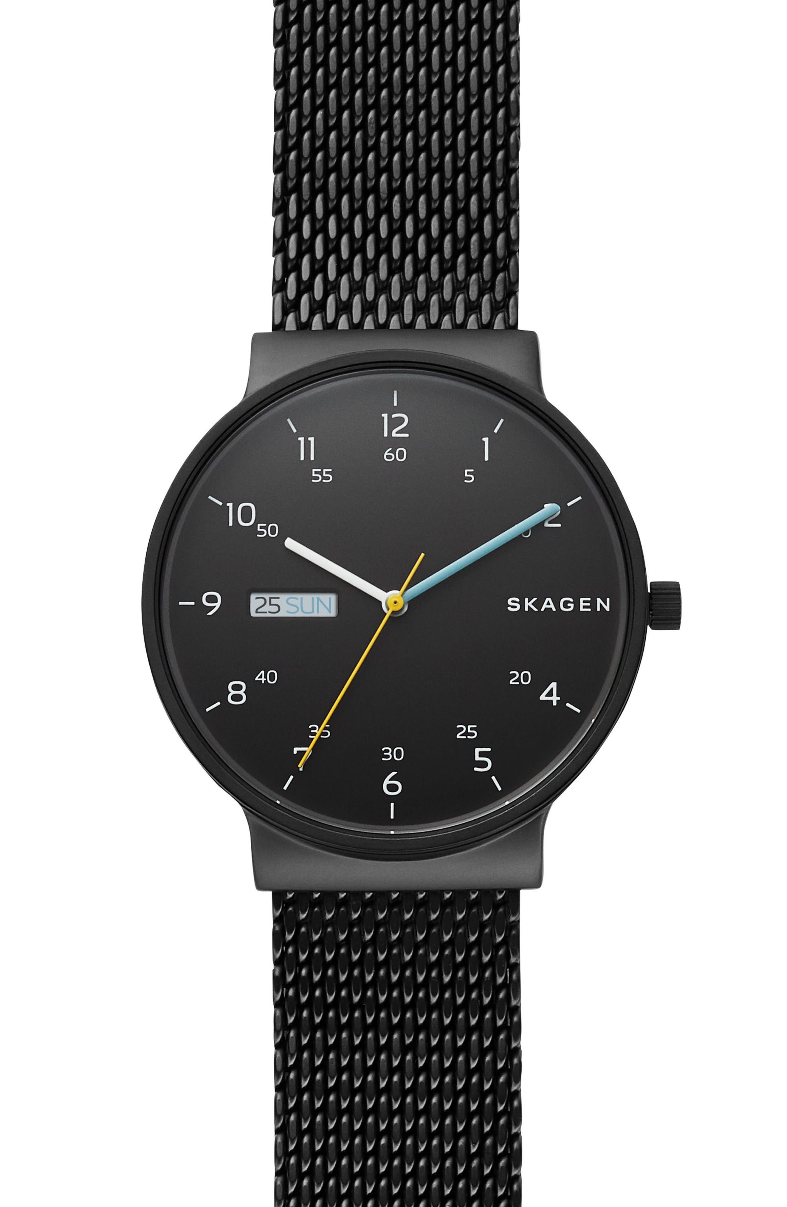 Ancher Mesh Strap Watch, 40mm,                         Main,                         color, BLACK
