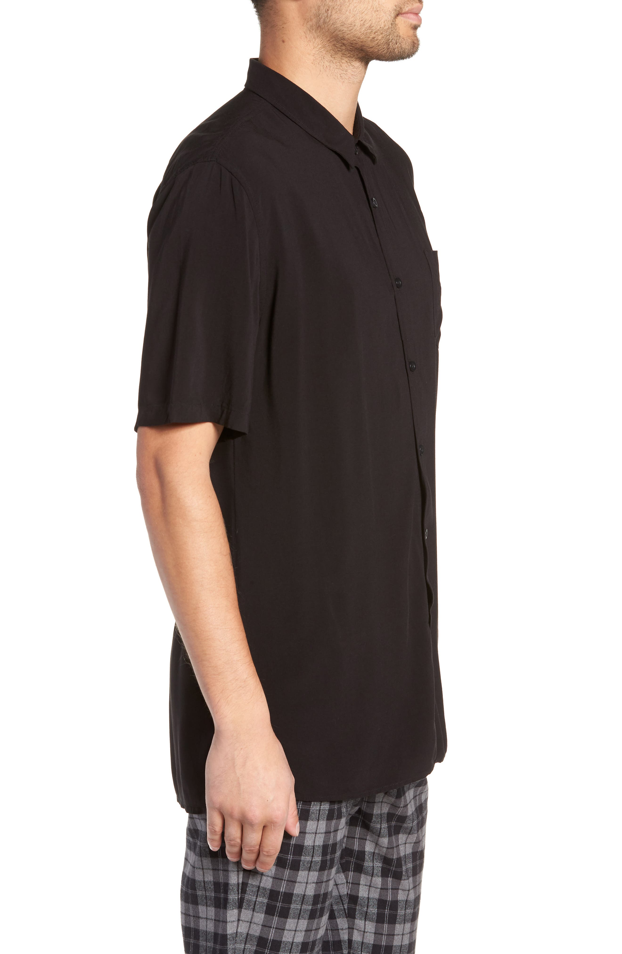 Solid Short Sleeve Shirt,                             Alternate thumbnail 4, color,                             BLACK