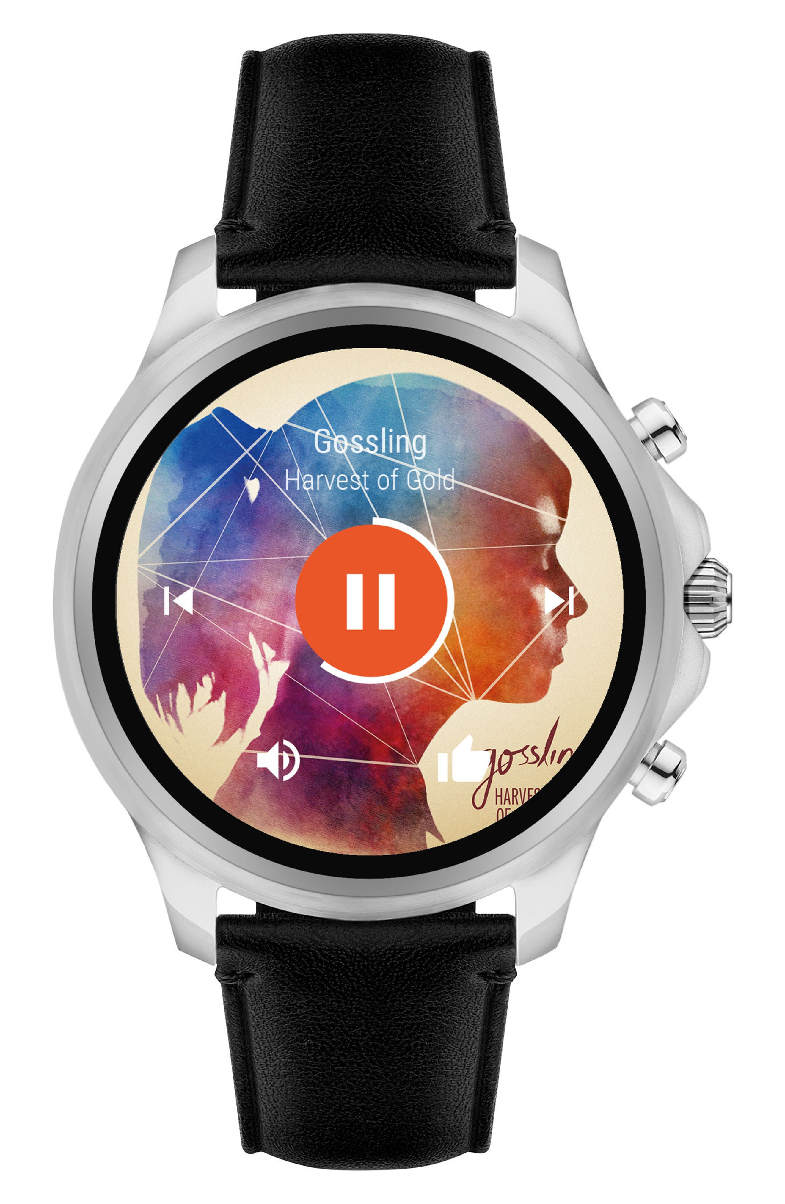 Touchscreen Leather Strap Smartwatch, 46mm,                             Main thumbnail 1, color,                             001