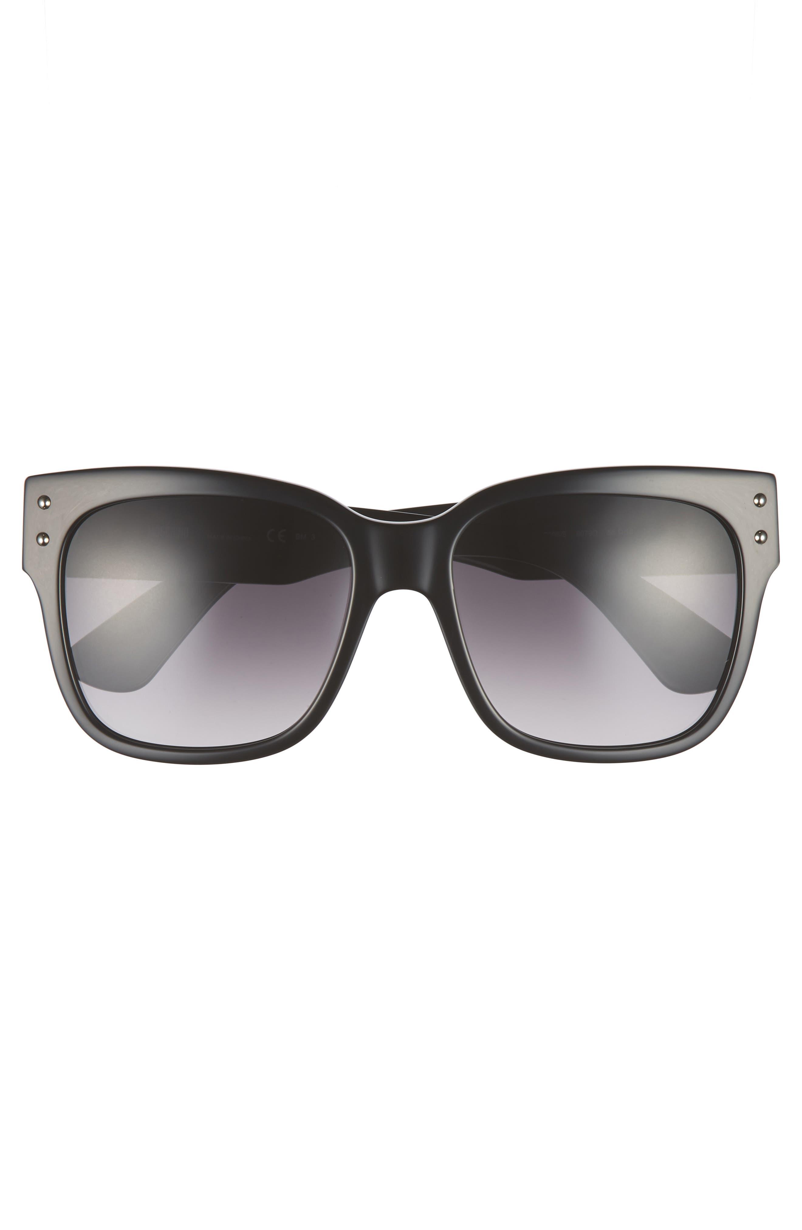 56mm Gradient Lens Sunglasses,                             Alternate thumbnail 3, color,                             BLACK