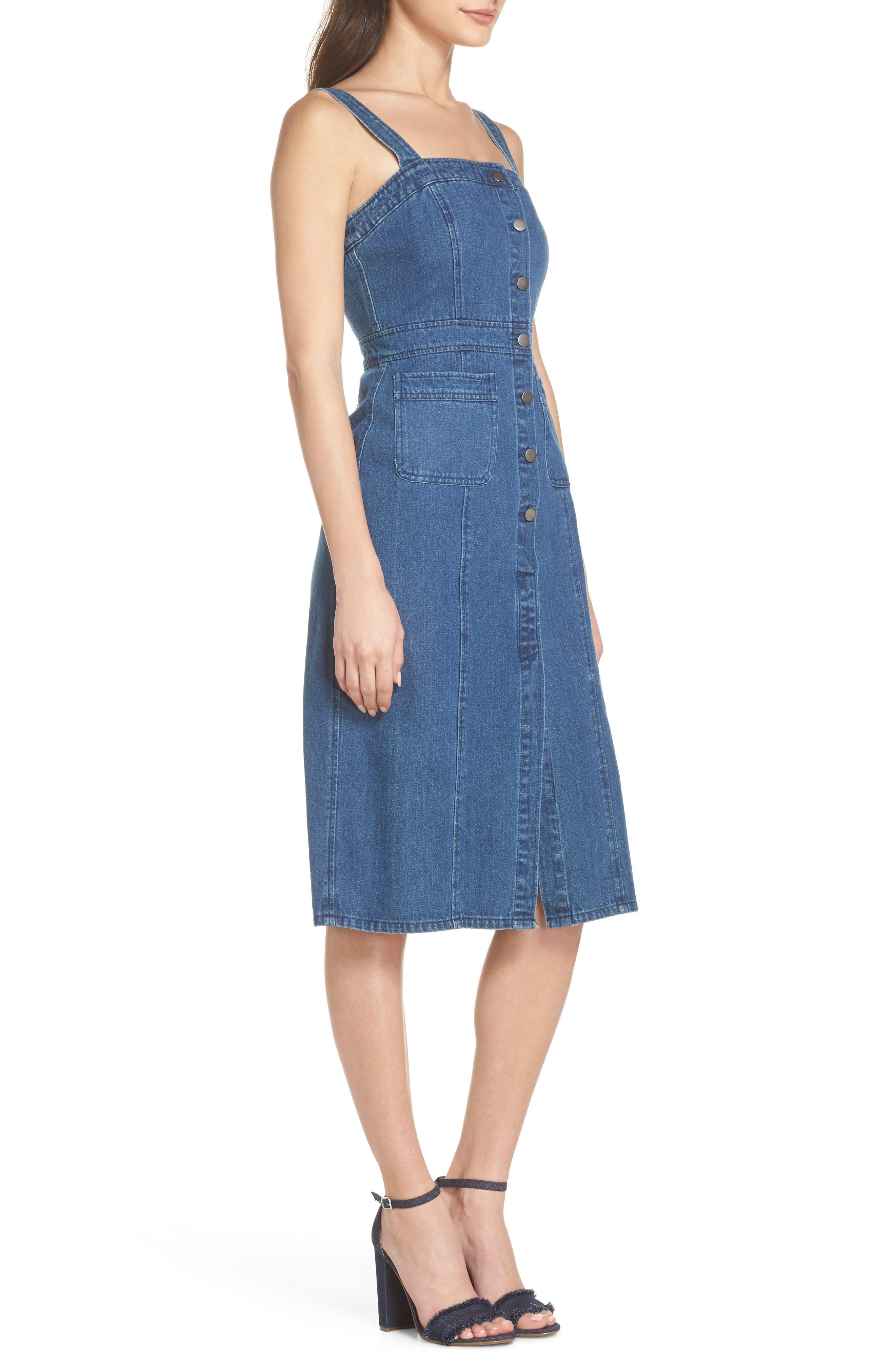 Button Front Denim Dress,                             Alternate thumbnail 3, color,                             401