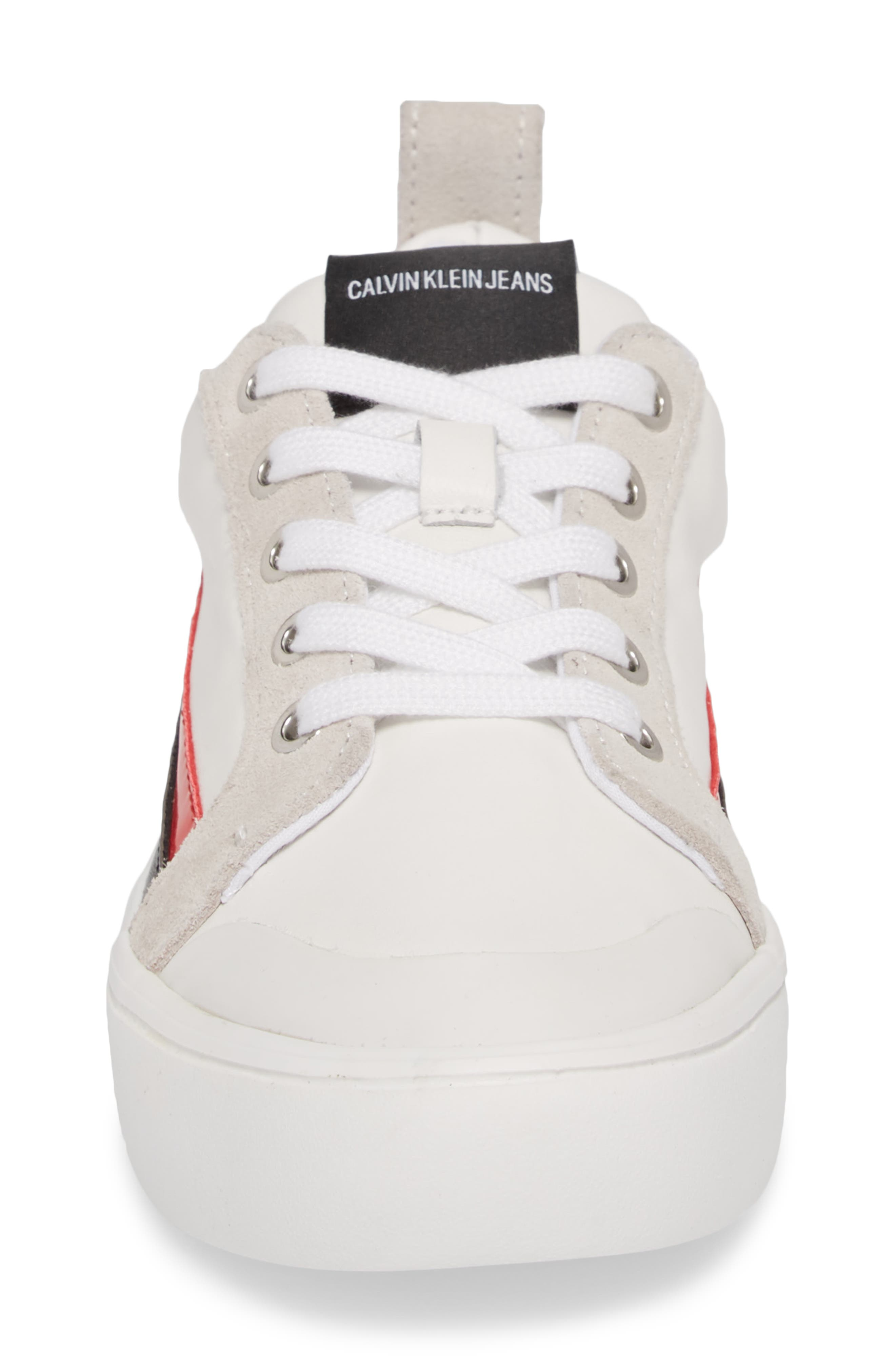 Dodie Sneaker,                             Alternate thumbnail 4, color,                             WHITE/ BLACK/ TOMATO