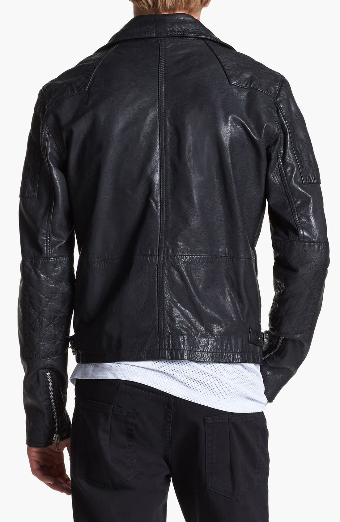Leather Biker Jacket,                             Alternate thumbnail 5, color,                             001