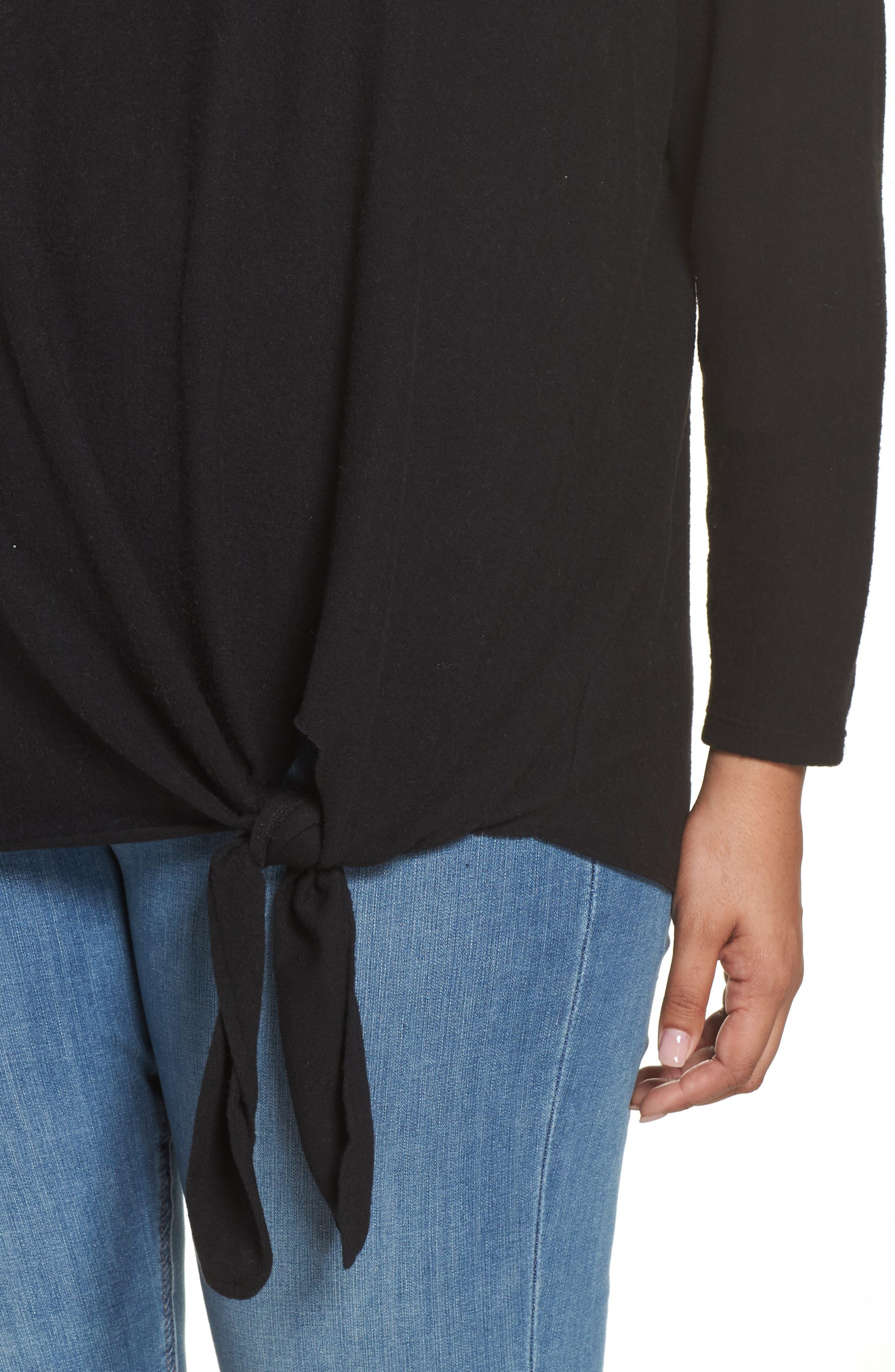 Fuzzy Tie Front Sweatshirt,                             Alternate thumbnail 4, color,                             BLACK