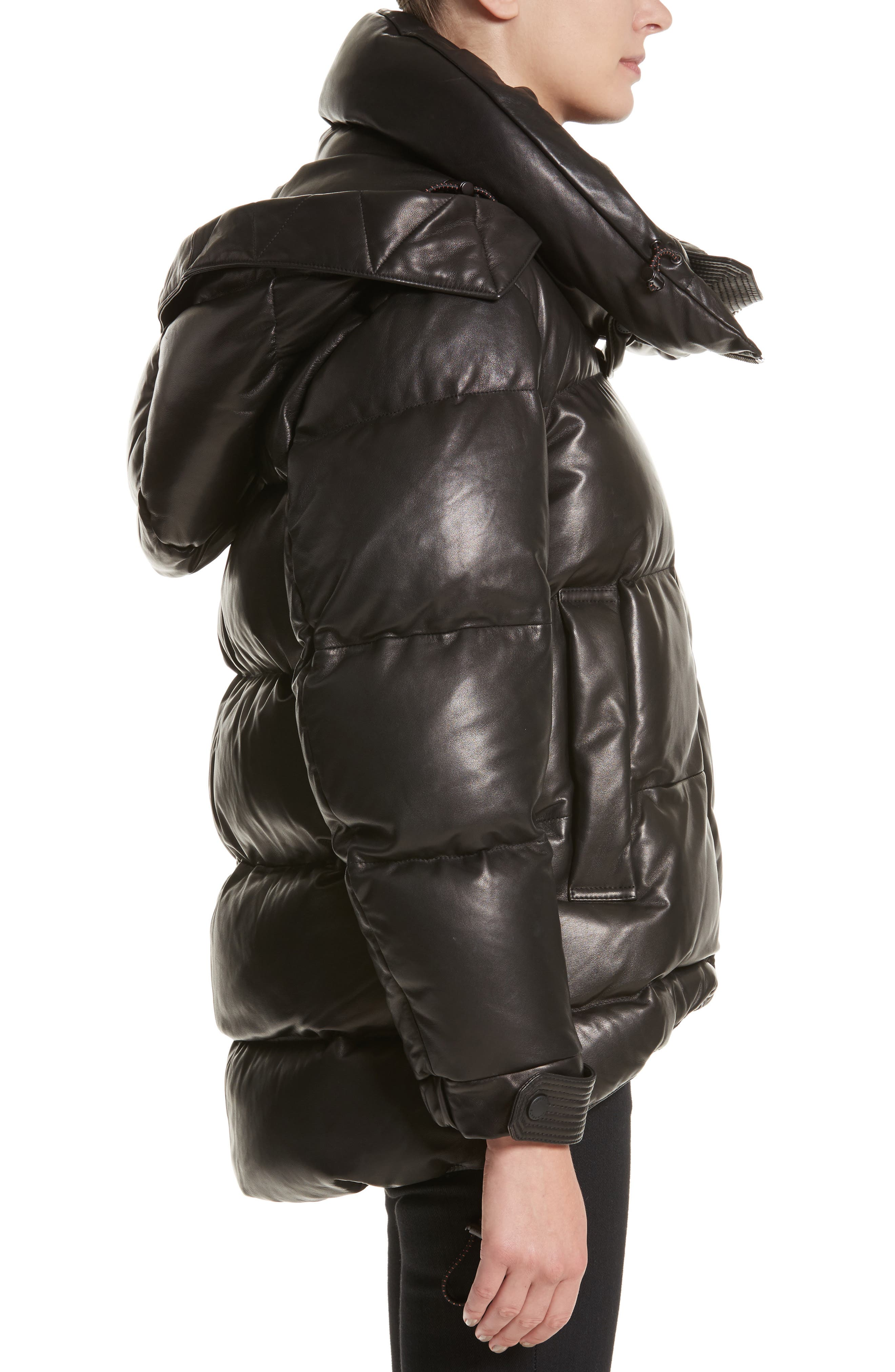 Rocklands Quilted Down Leather Coat,                             Alternate thumbnail 3, color,                             001
