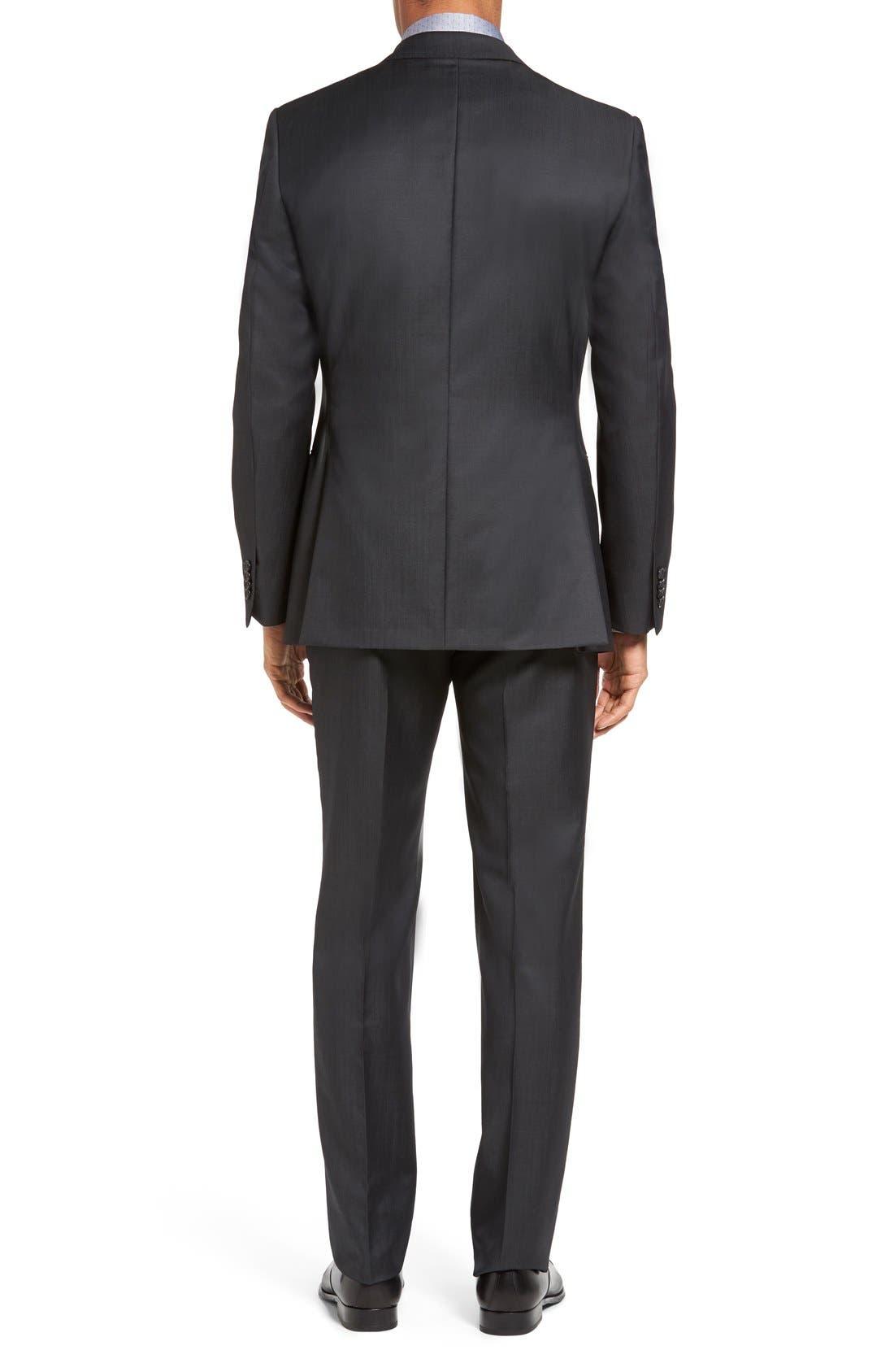 Trim Fit Solid Wool Suit,                             Alternate thumbnail 3, color,                             022