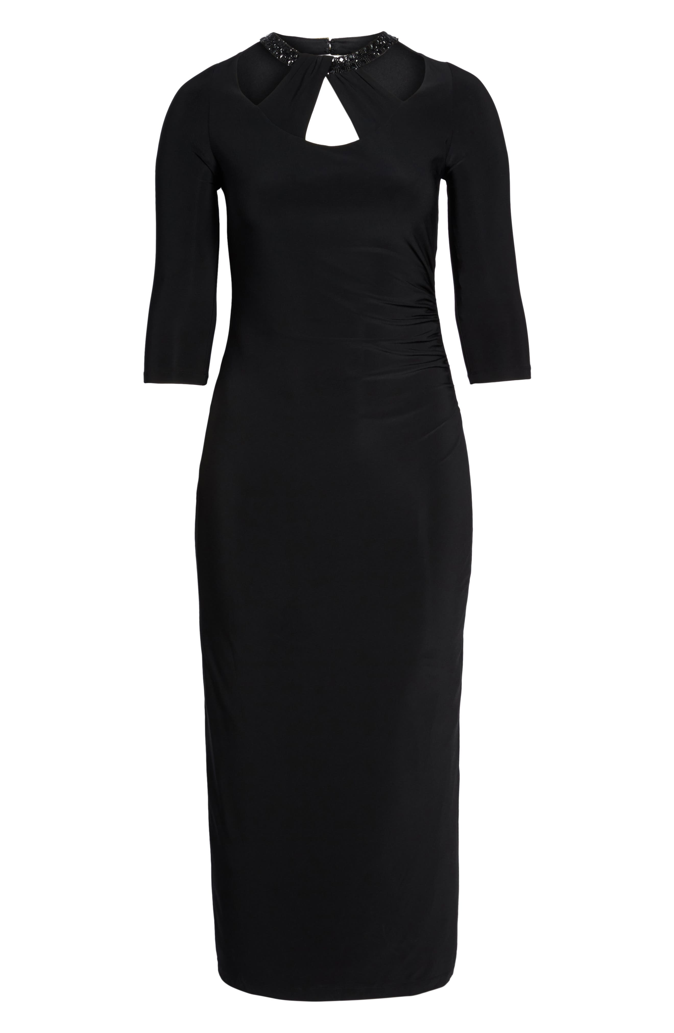Embellished Neck Matte Jersey Gown,                             Alternate thumbnail 6, color,                             001