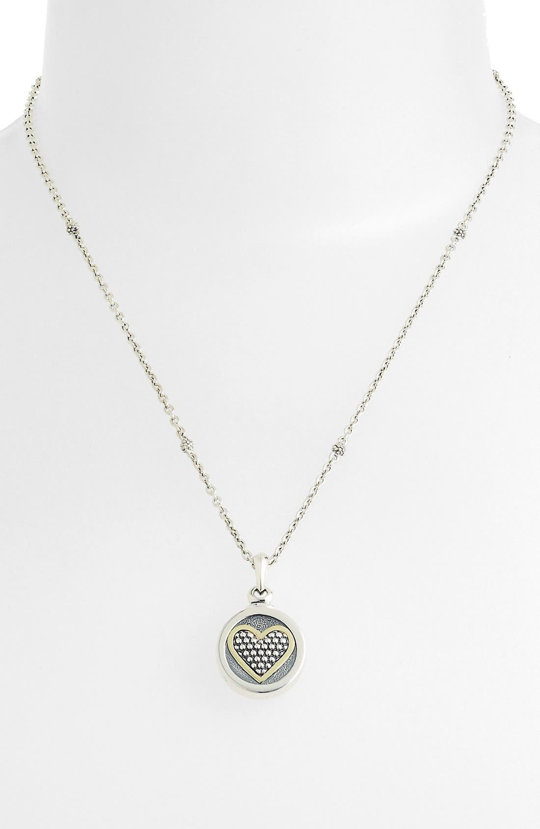 Heart Locket Caviar Necklace,                             Alternate thumbnail 3, color,                             960