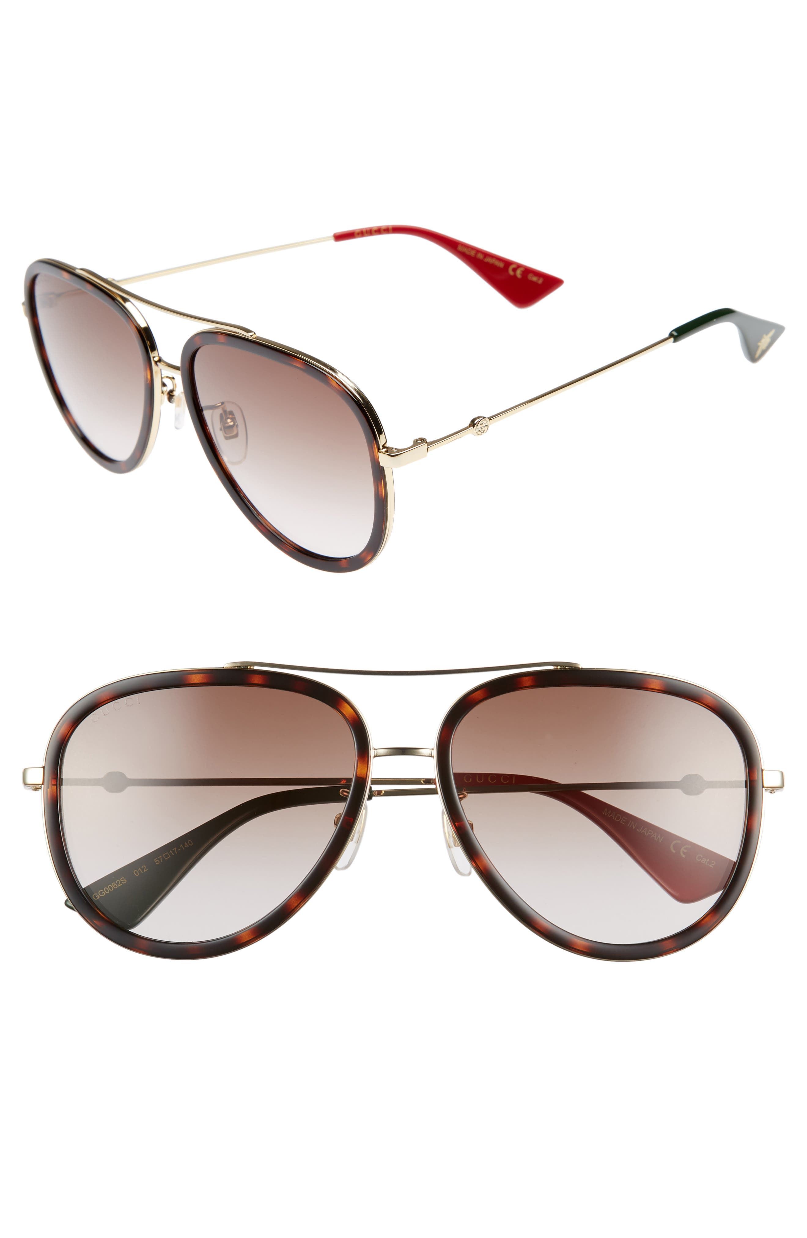 57mm Aviator Sunglasses,                         Main,                         color, GOLD/ RED/ GREEN