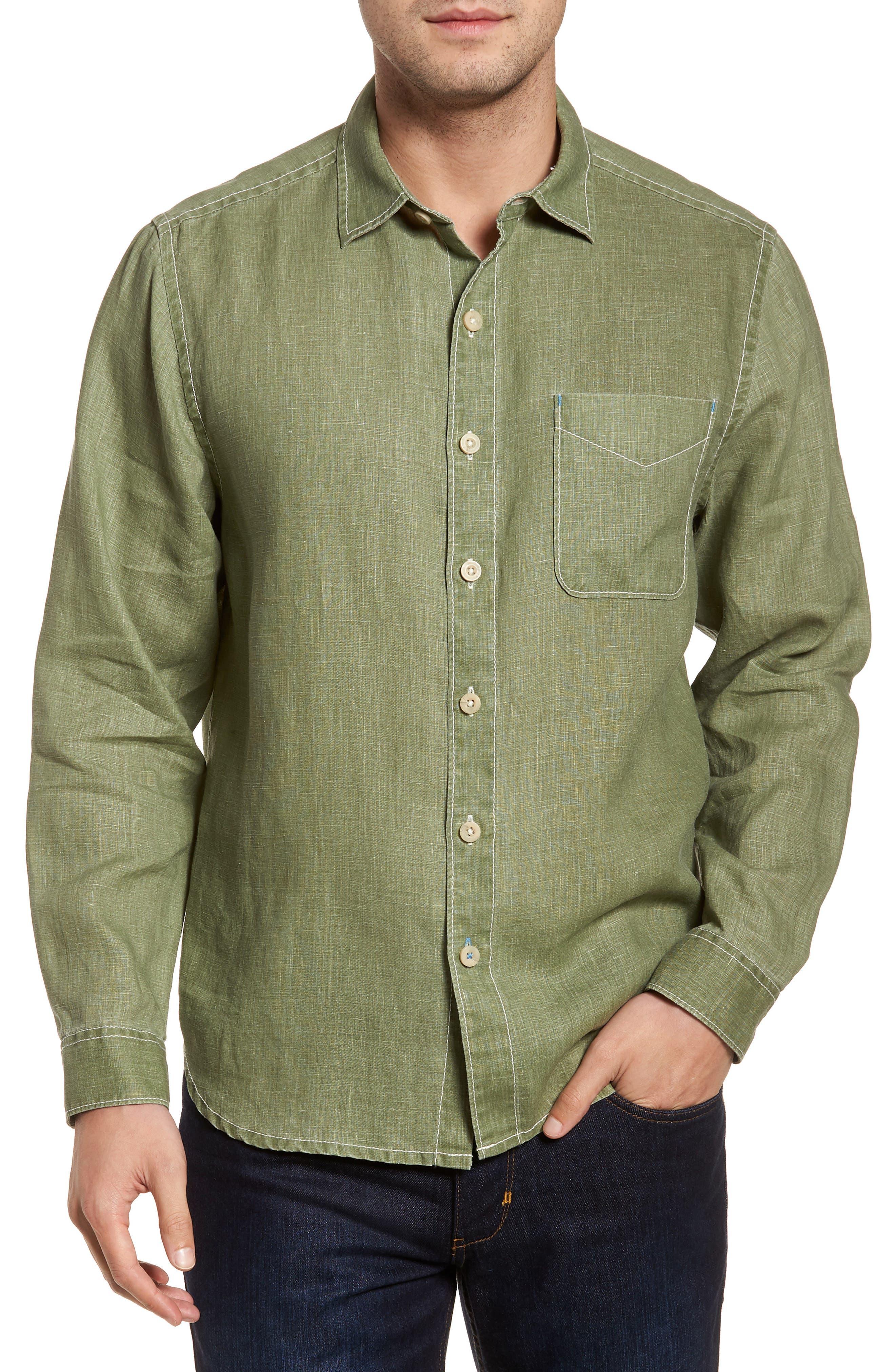 Sea Glass Breezer Linen Sport Shirt,                         Main,                         color, 304