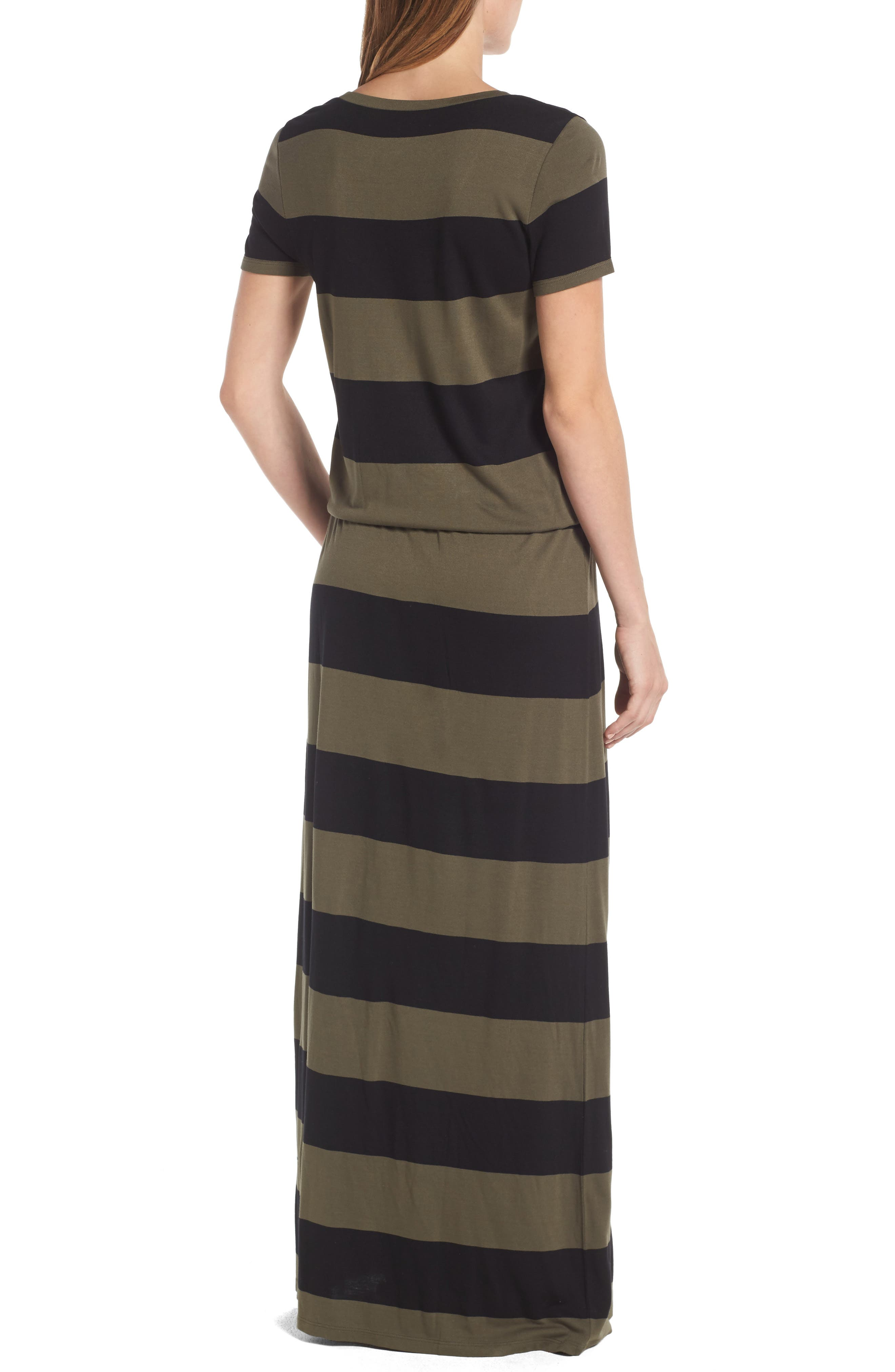 Drawstring V-Neck Jersey Maxi Dress,                             Alternate thumbnail 17, color,
