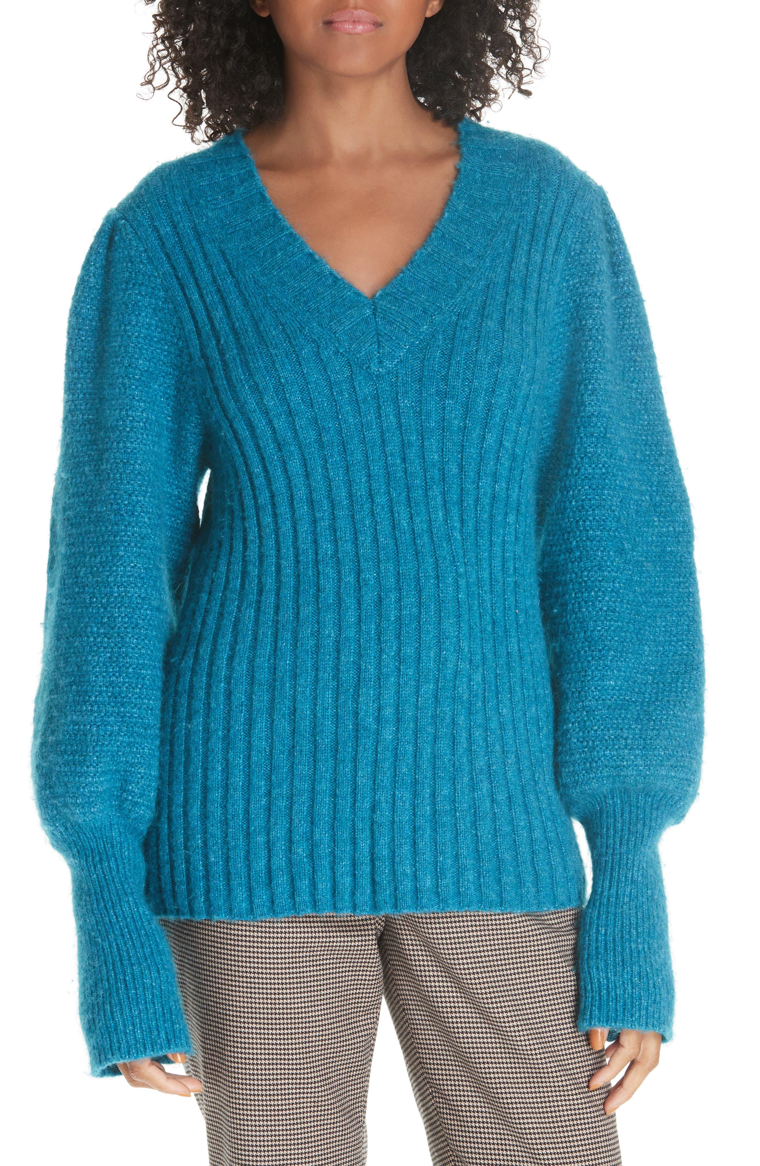 Rebecca Taylor Lofty Alpaca Wool Blend Sweater, Blue/green