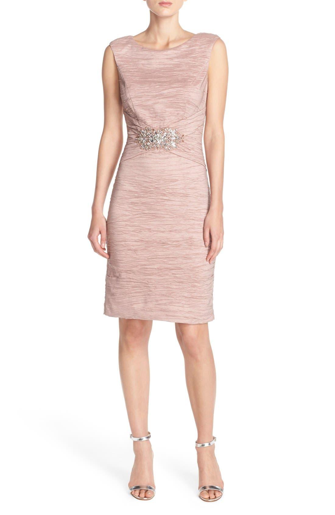 Embellished Taffeta Sheath Dress,                             Alternate thumbnail 15, color,