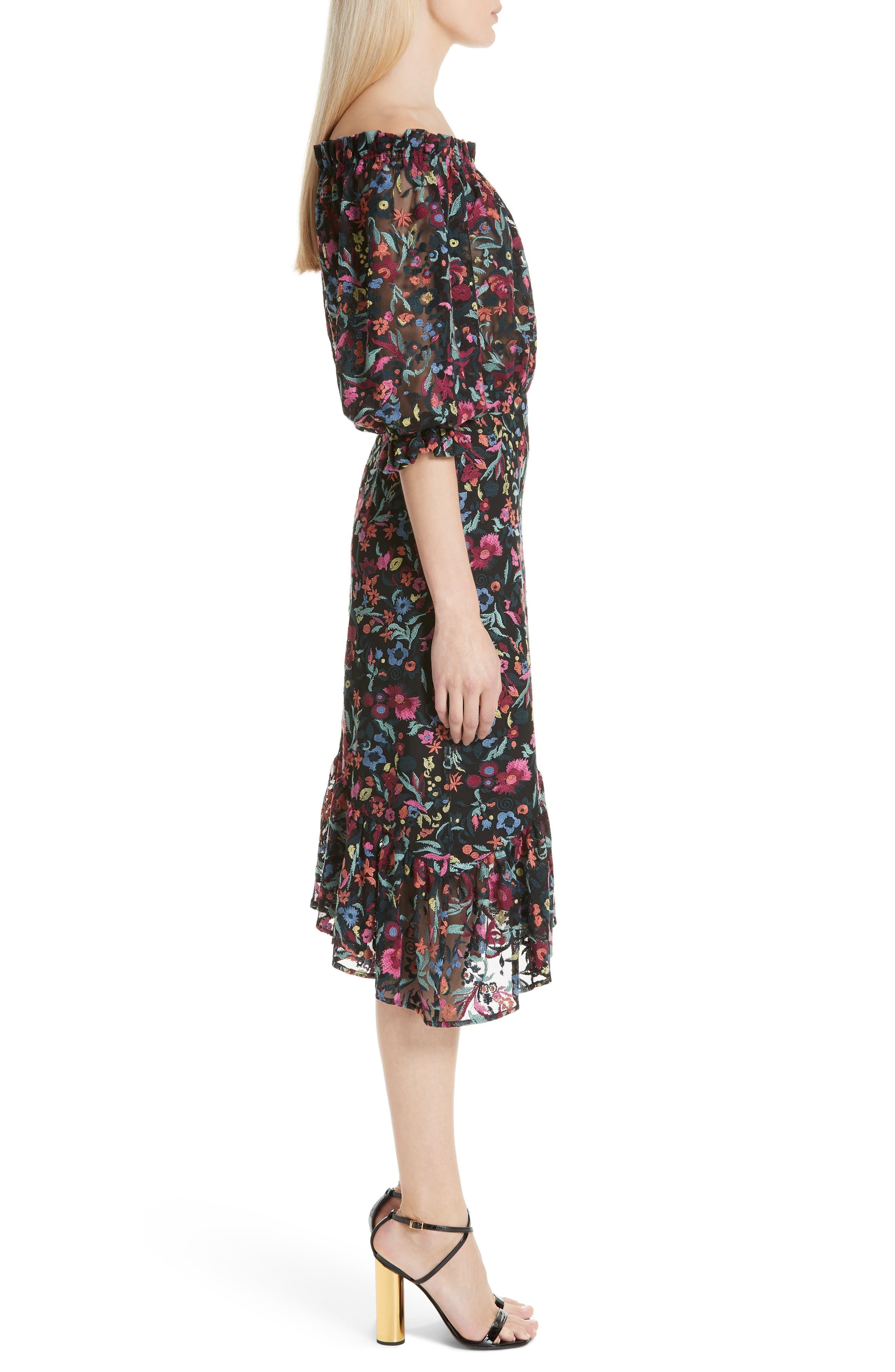 Grace Floral Embroidered Off the Shoulder Tulle Dress,                             Alternate thumbnail 3, color,                             BOUQUET NOIR