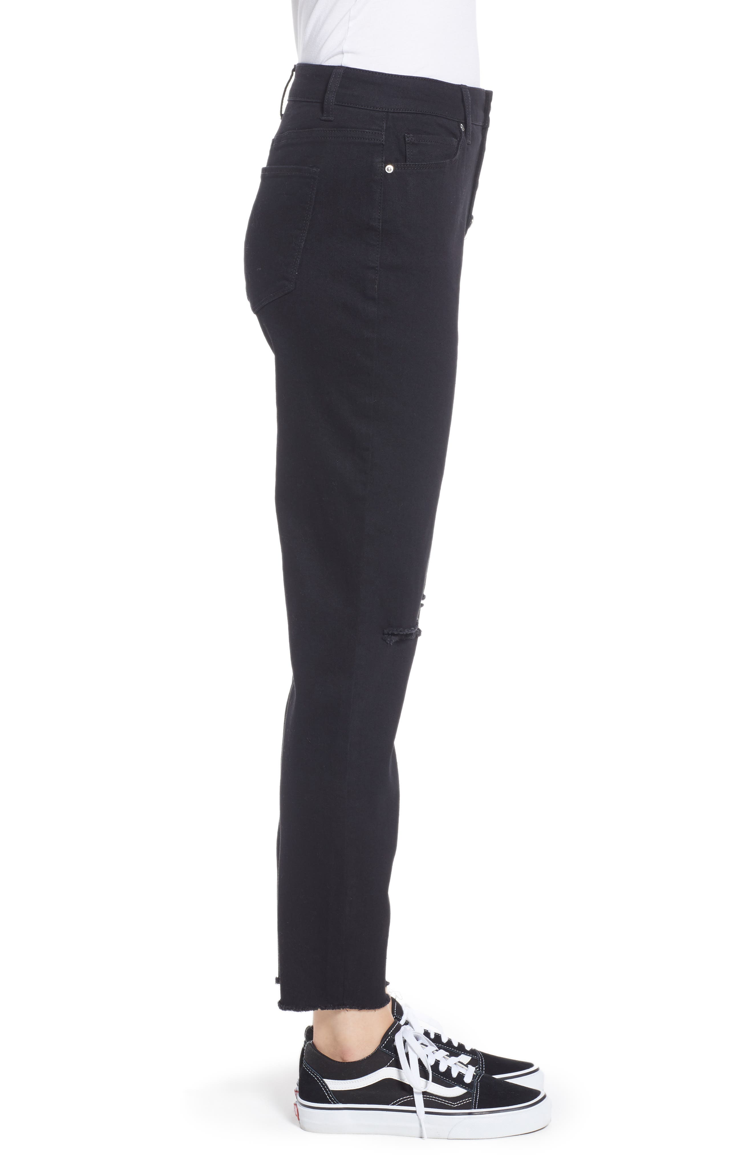 Ripped High Waist Ankle Skinny Jeans,                             Alternate thumbnail 3, color,                             BLACK RINSE