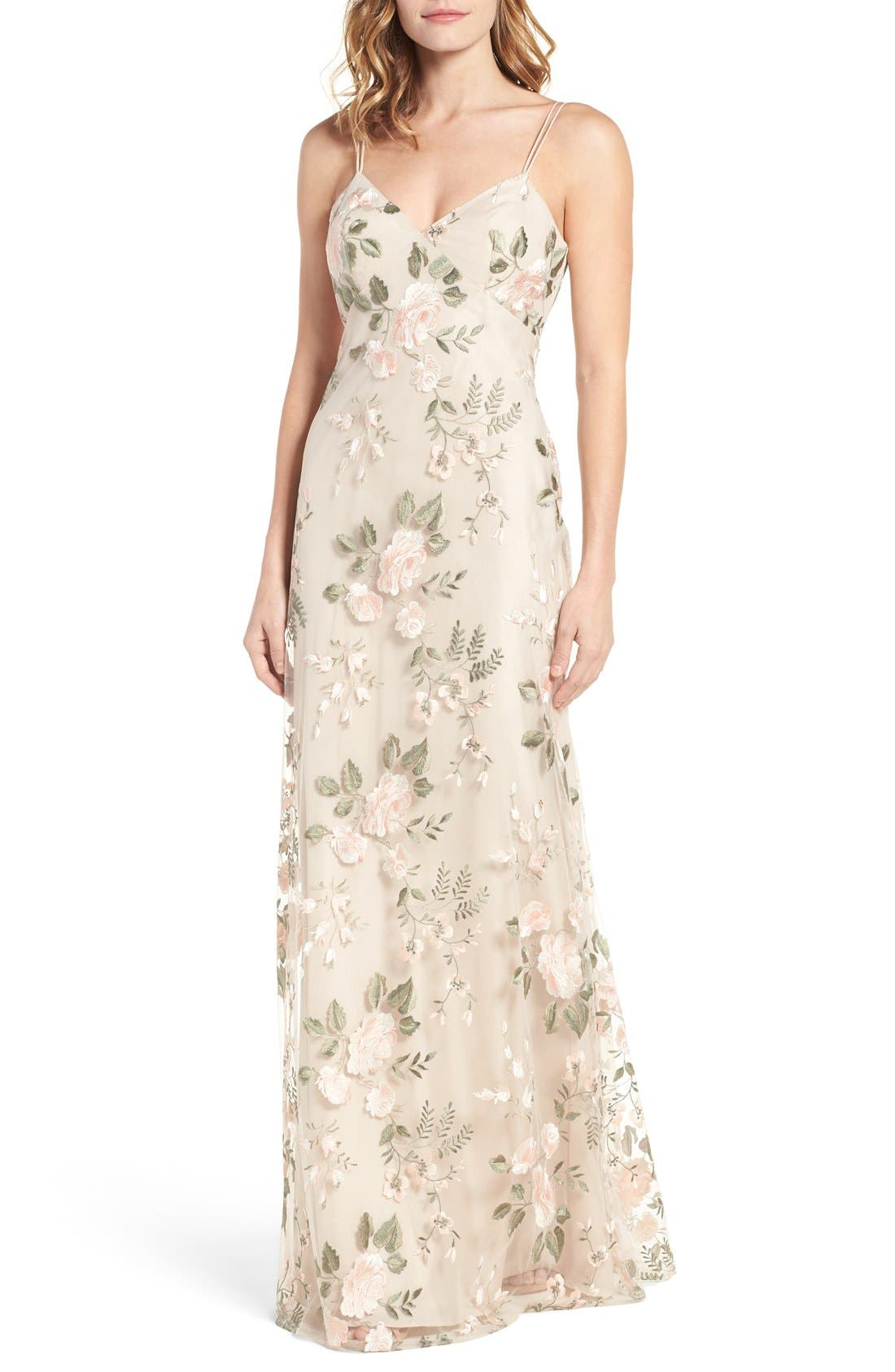 Julianna Embroidered Gown,                             Main thumbnail 1, color,                             BLUSH SAND DUNE