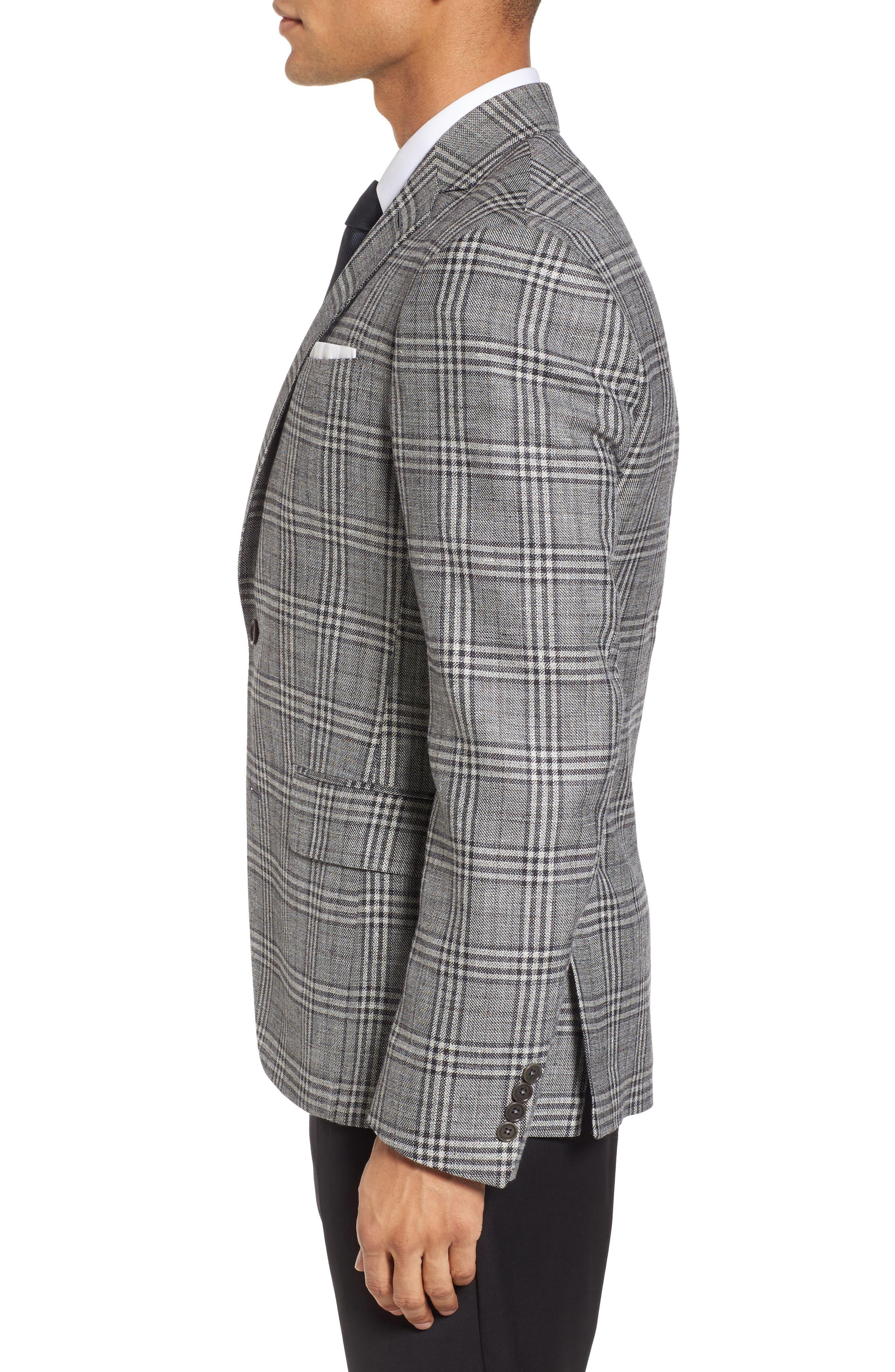 Trim Fit Plaid Wool Blend Sport Coat,                             Alternate thumbnail 3, color,                             030