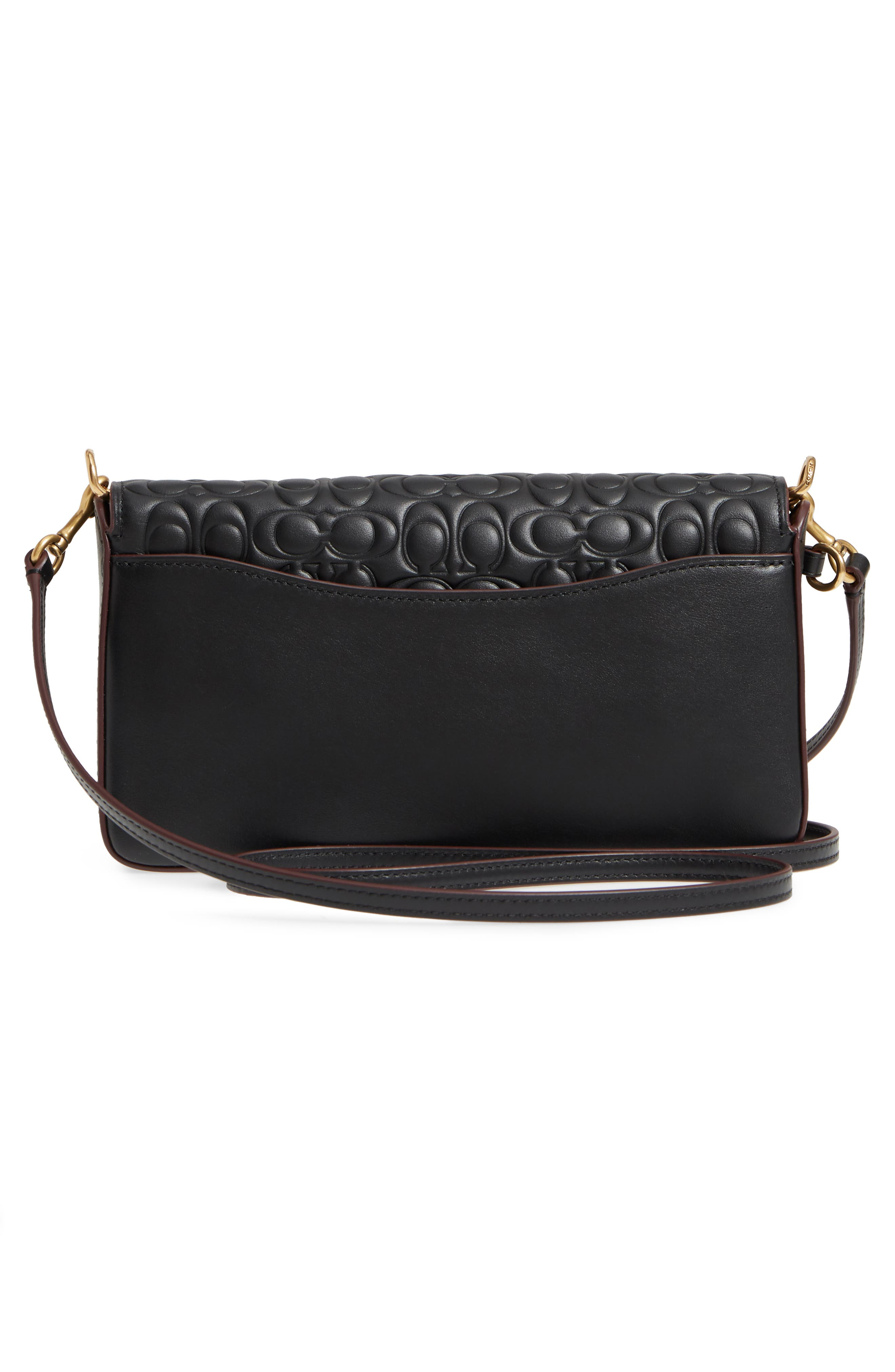 Logo Embossed Dinky Leather Crossbody Clutch,                             Alternate thumbnail 3, color,                             BLACK
