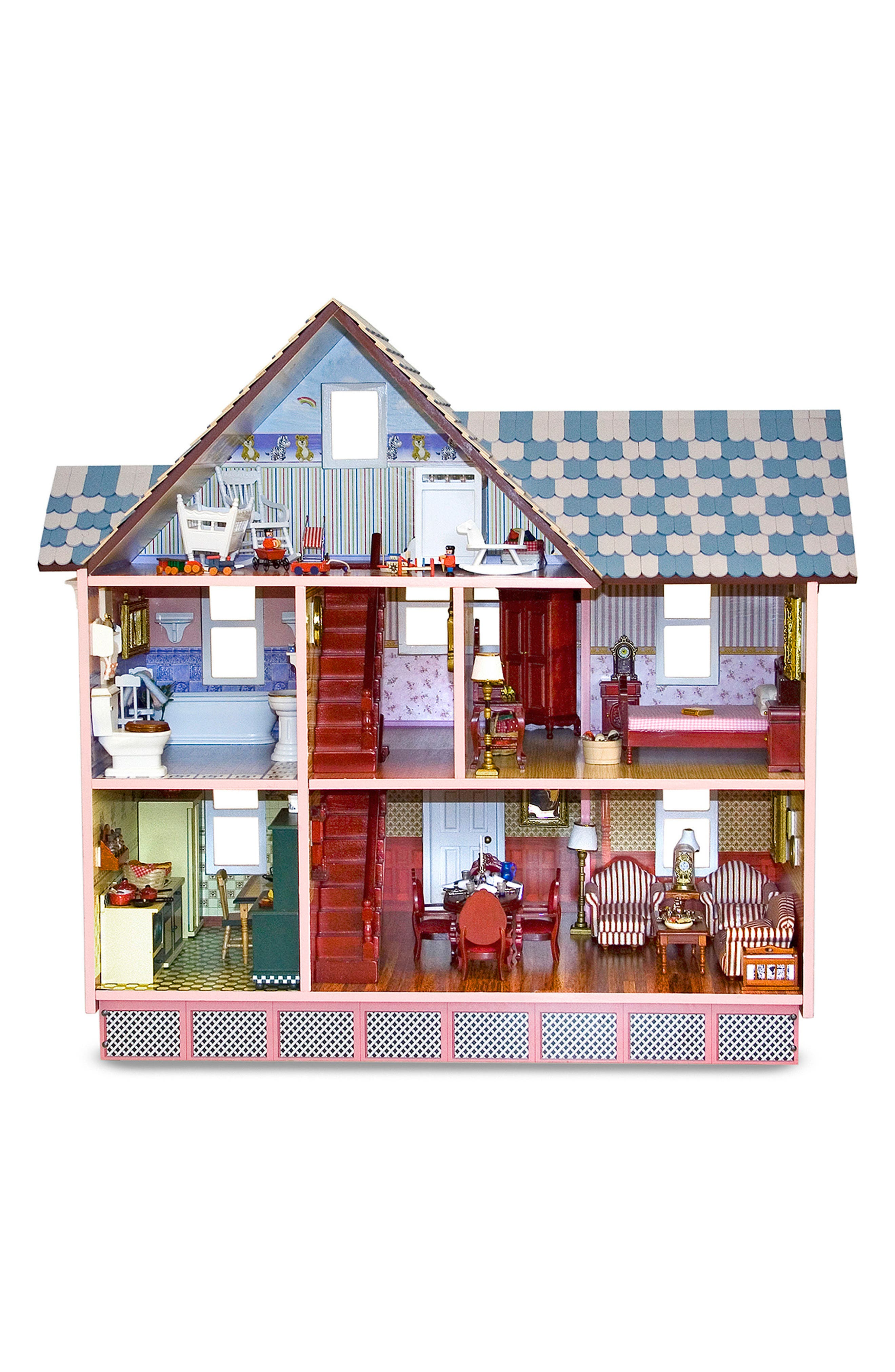 Wooden Victorian Doll House,                             Alternate thumbnail 2, color,                             PINK