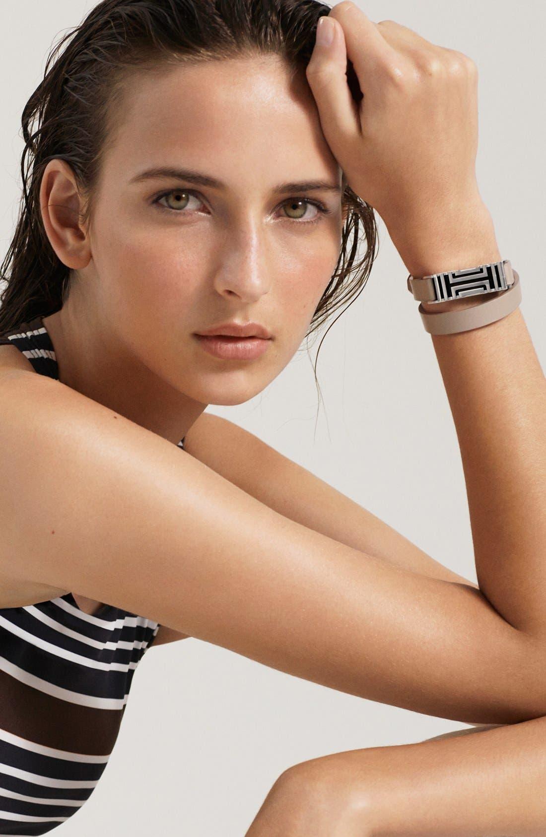 for Fitbit<sup>®</sup> Leather Wrap Bracelet,                             Main thumbnail 1, color,                             001