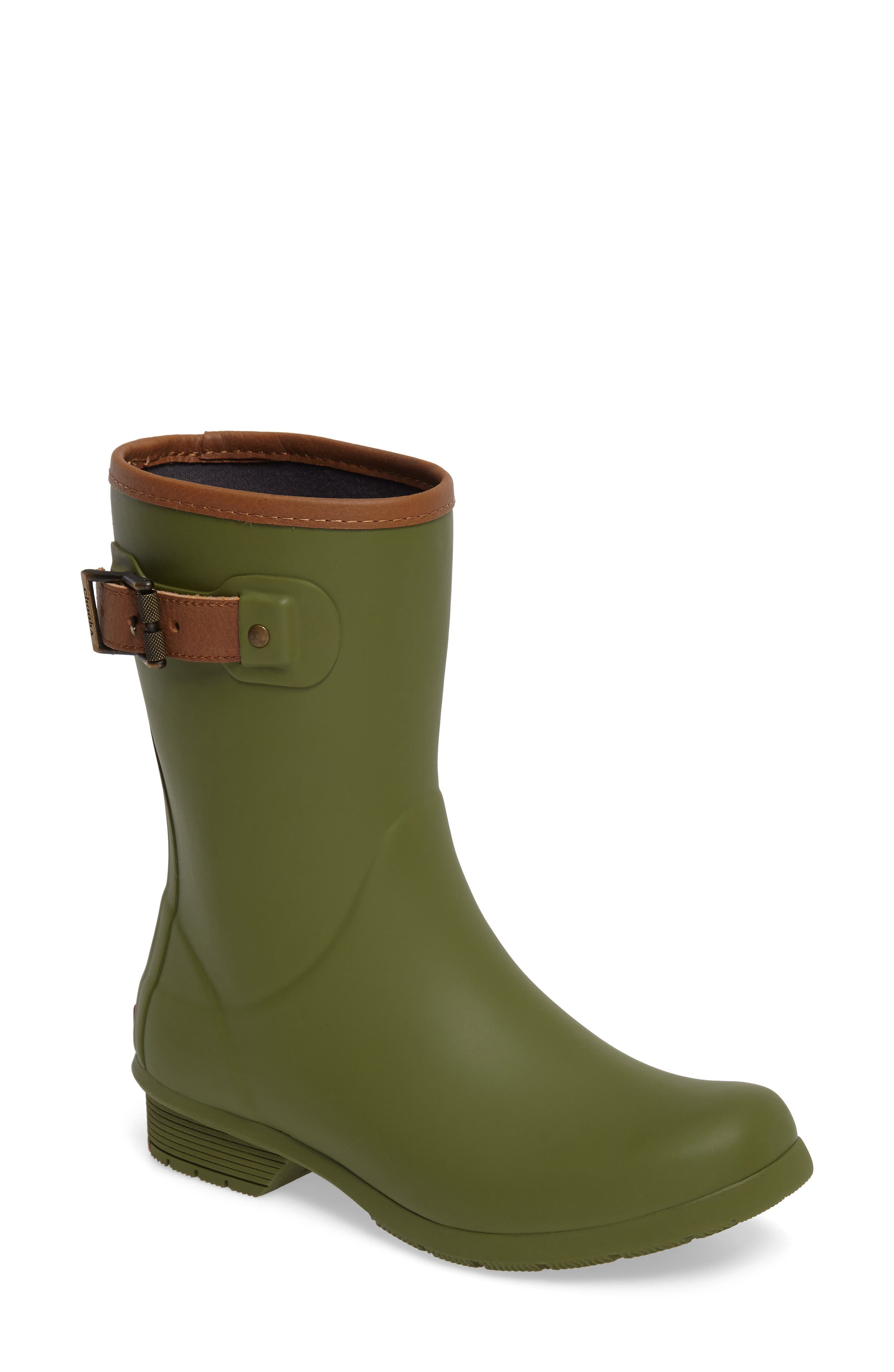 City Solid Mid Height Rain Boot,                             Main thumbnail 1, color,                             OLIVE
