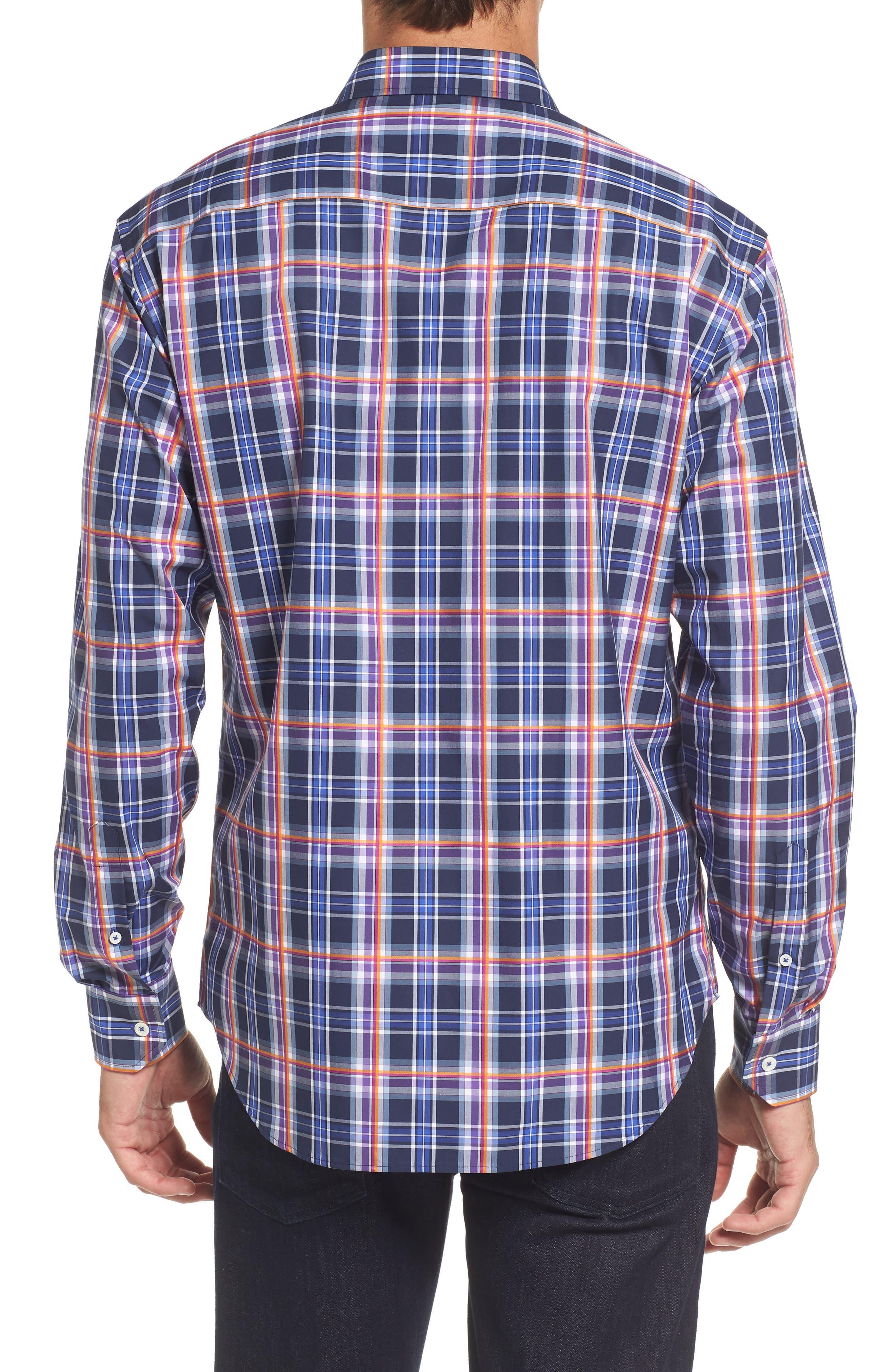 Slim Fit Madras Plaid Sport Shirt,                             Alternate thumbnail 2, color,                             411