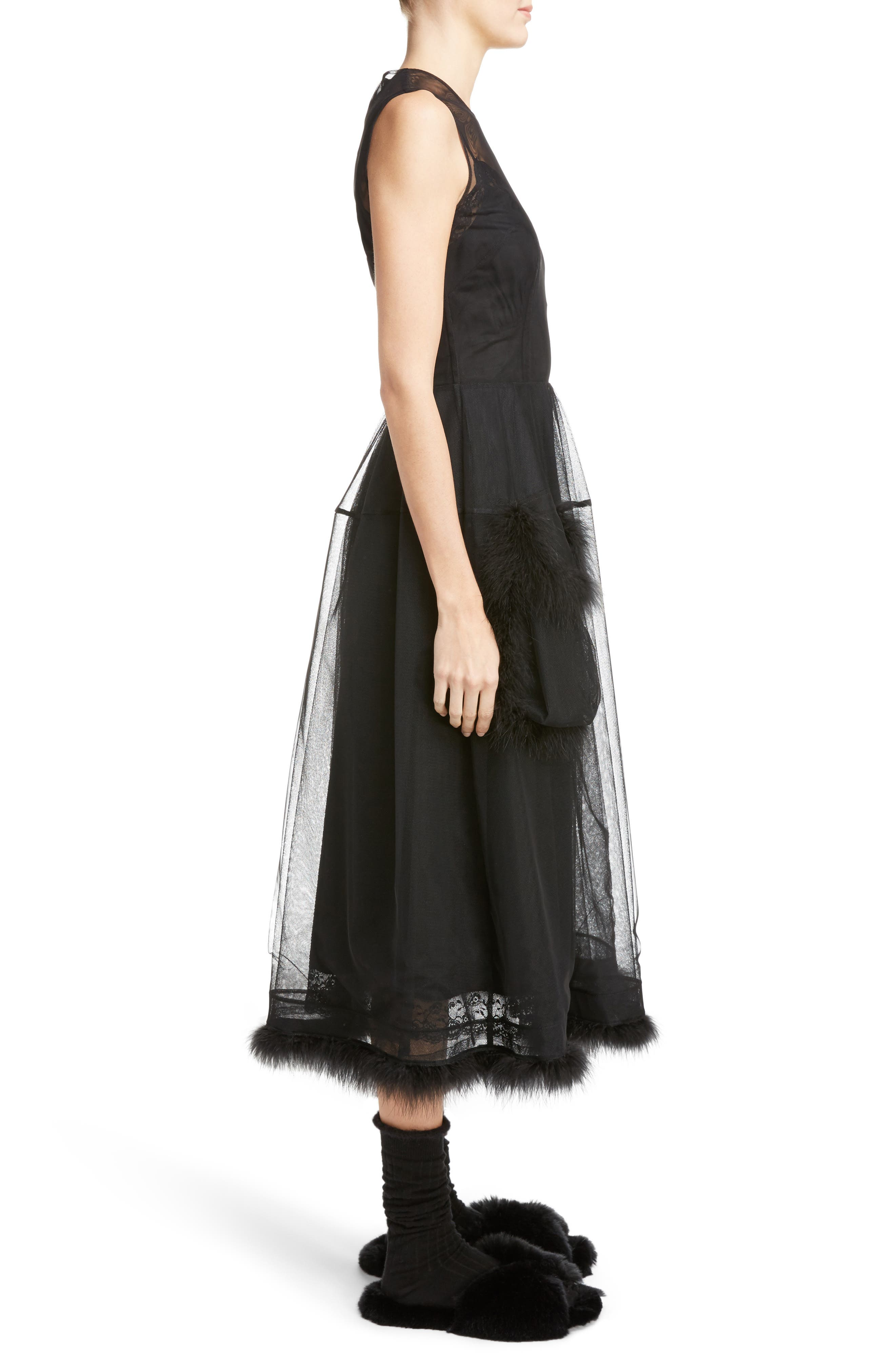 Teddy Feather Trim Tulle Dress,                             Alternate thumbnail 3, color,                             001