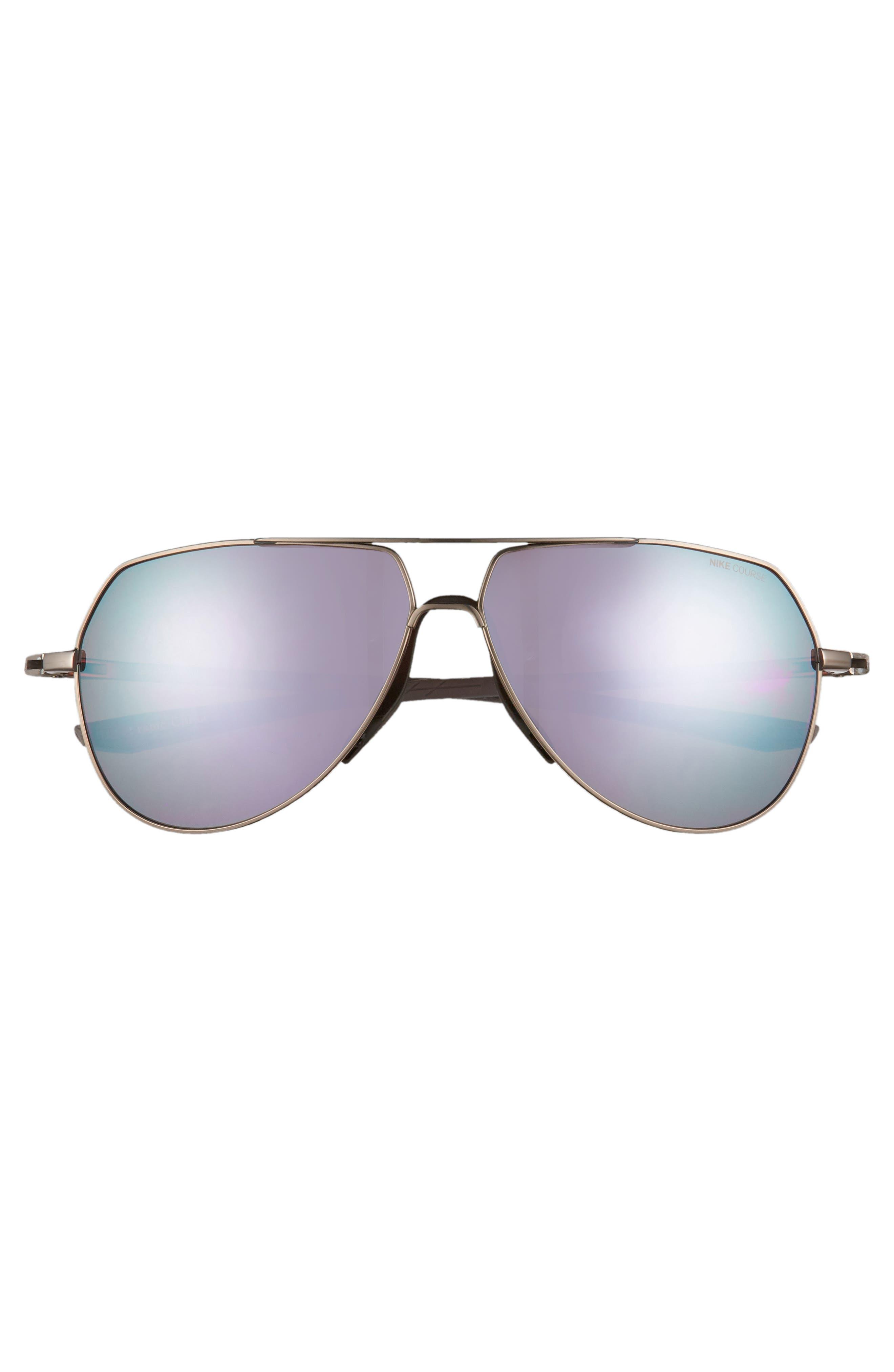 Outrider E 62mm Oversize Aviator Sunglasses,                             Alternate thumbnail 2, color,                             PEWTER/ GOLF MILKY BLUE