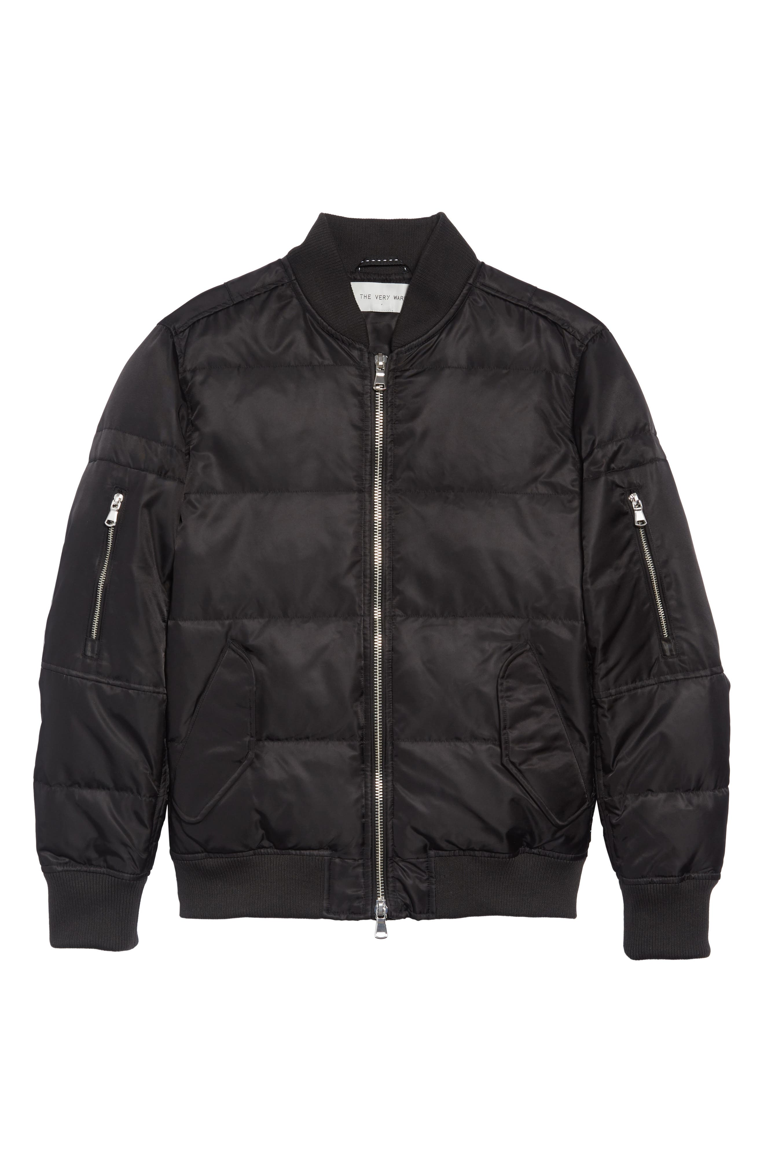 Vandal Down & Feather Fill Quilted Bomber Jacket,                             Alternate thumbnail 6, color,                             BLACK