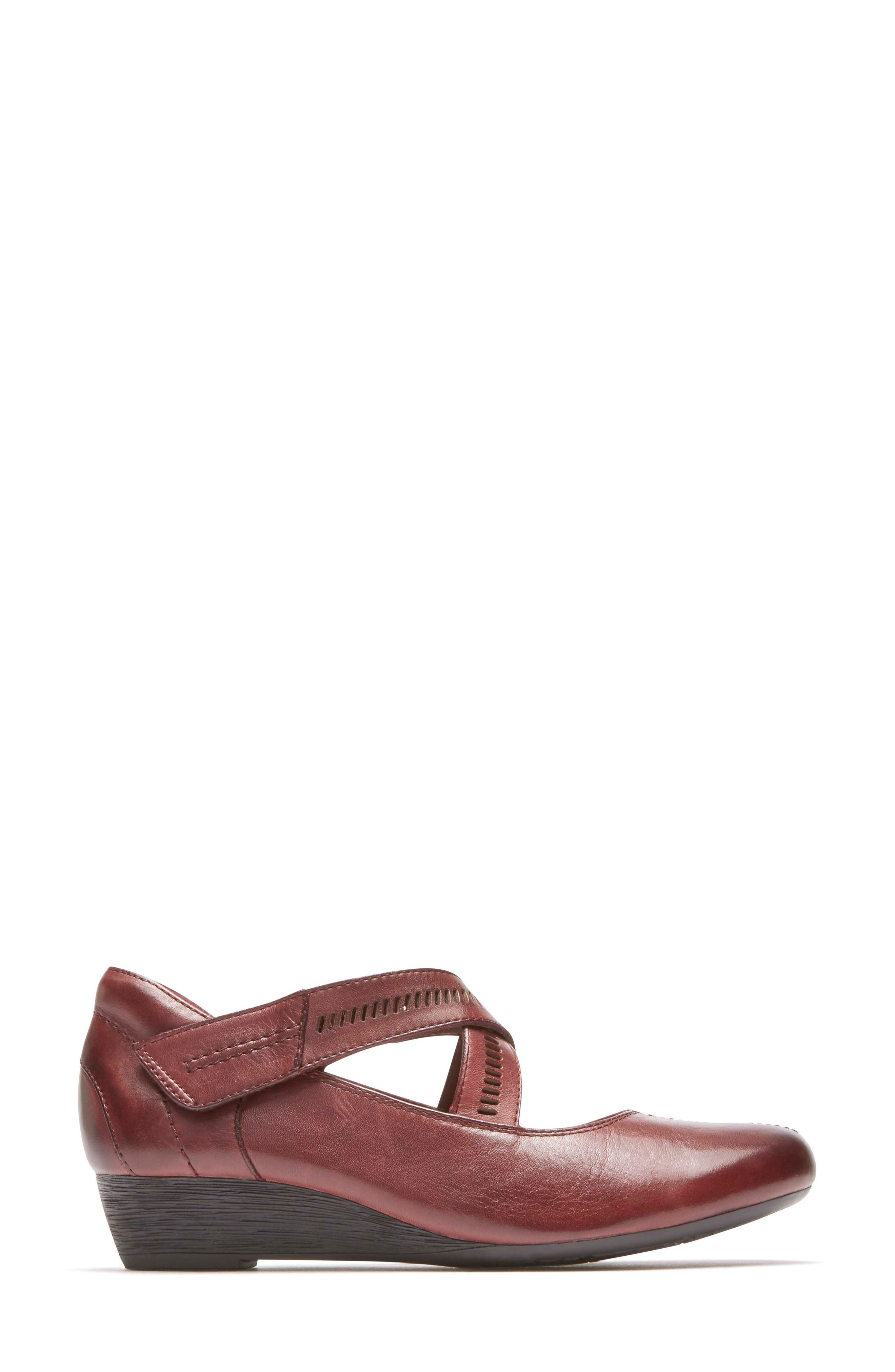 'Janet' Mary Jane Wedge,                             Alternate thumbnail 3, color,                             MERLOT LEATHER