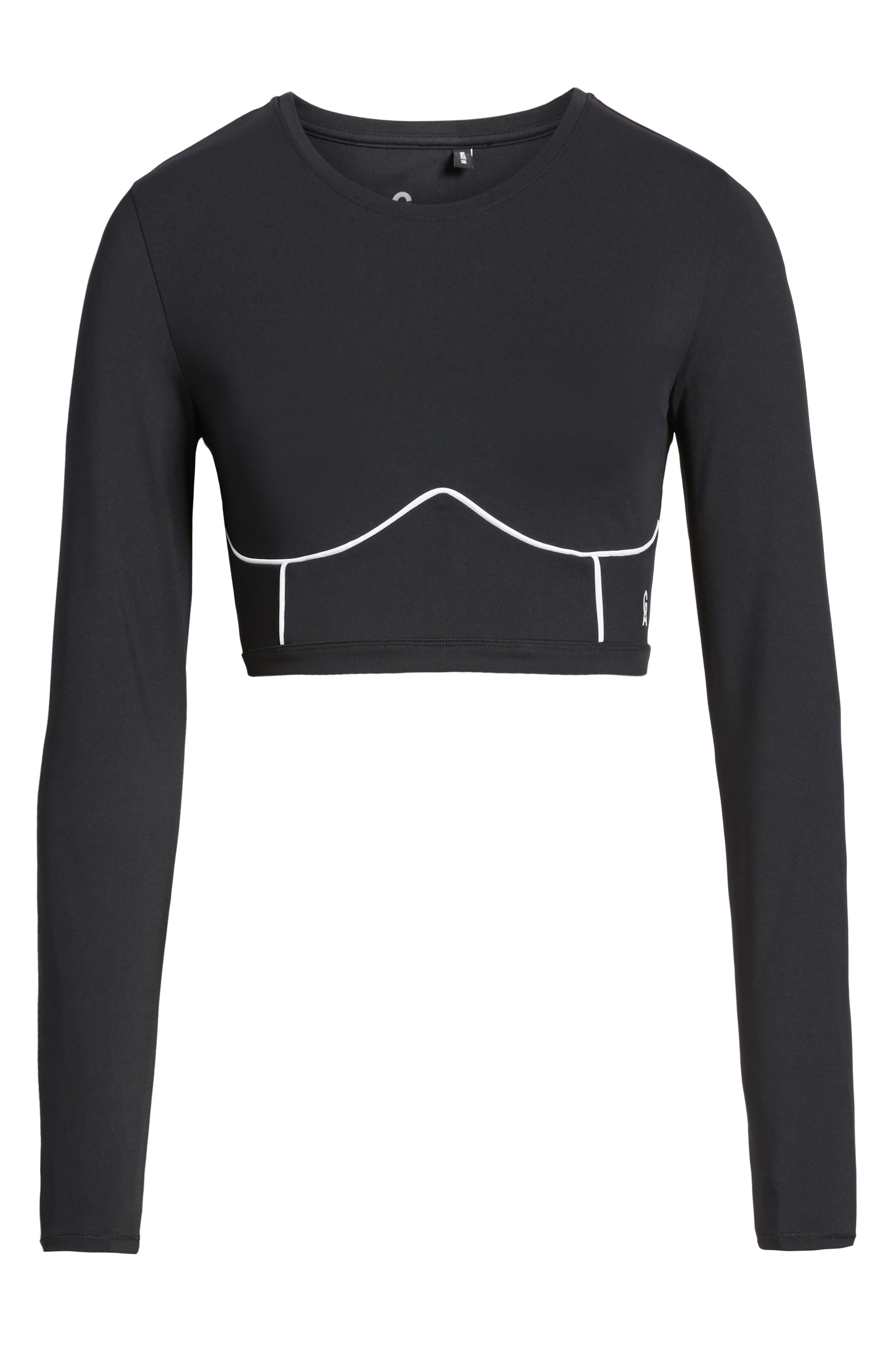 Piped Crop Top,                             Alternate thumbnail 6, color,                             BLACK001