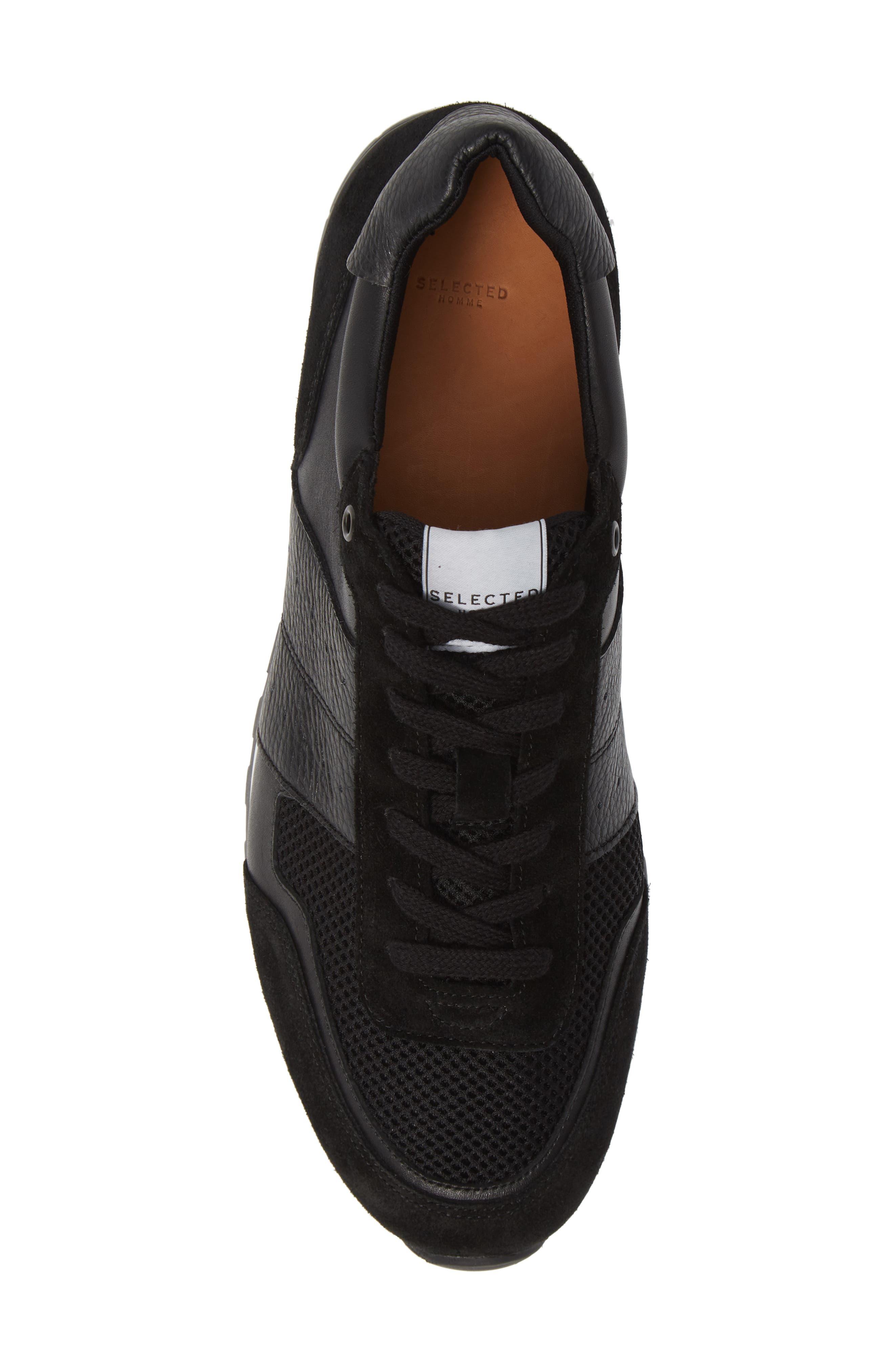 Frank Mix Runner Sneaker,                             Alternate thumbnail 5, color,                             BLACK