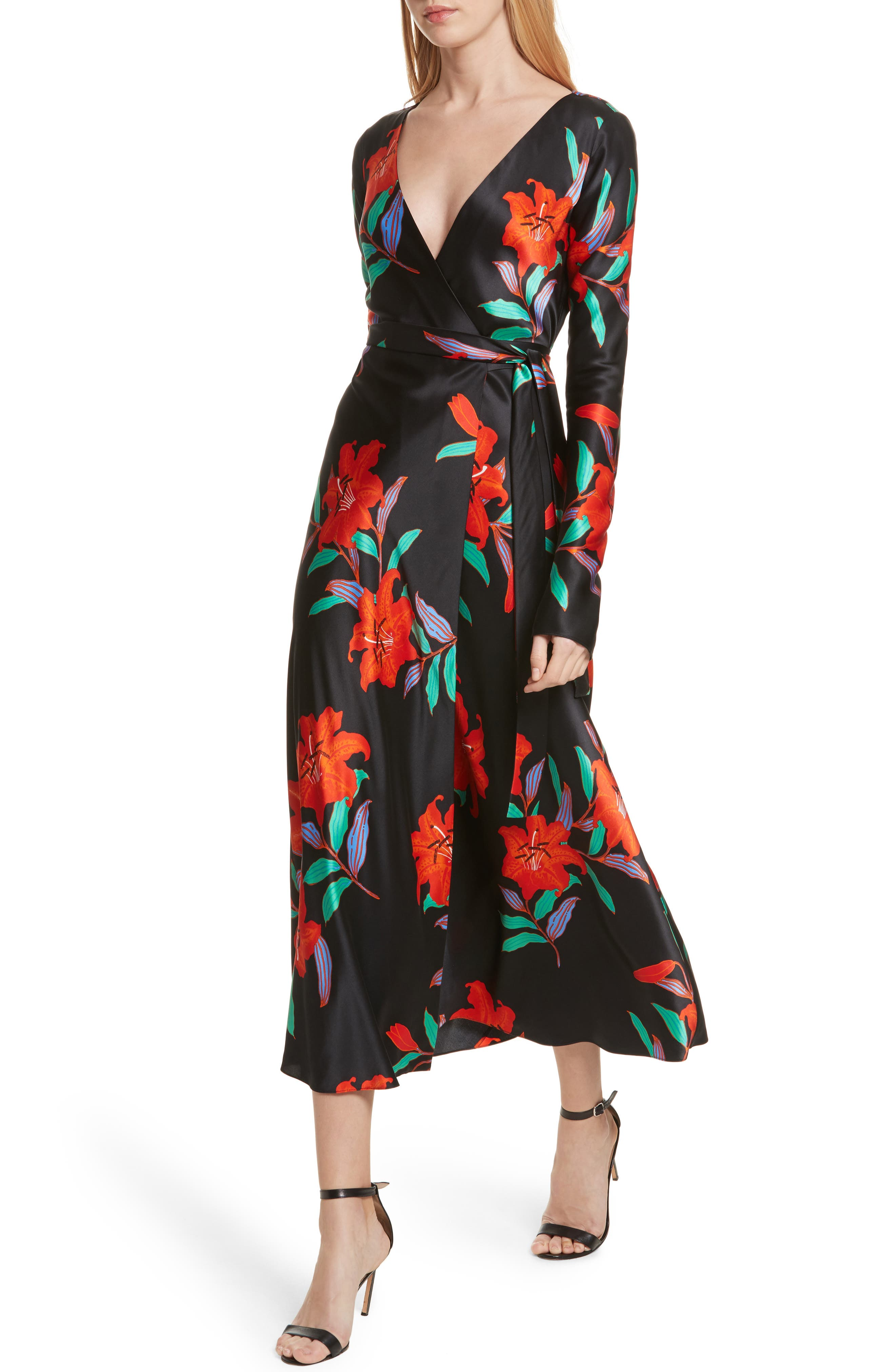 Diane von Furstenberg Floral Print Wrap Silk Dress,                             Alternate thumbnail 4, color,                             001