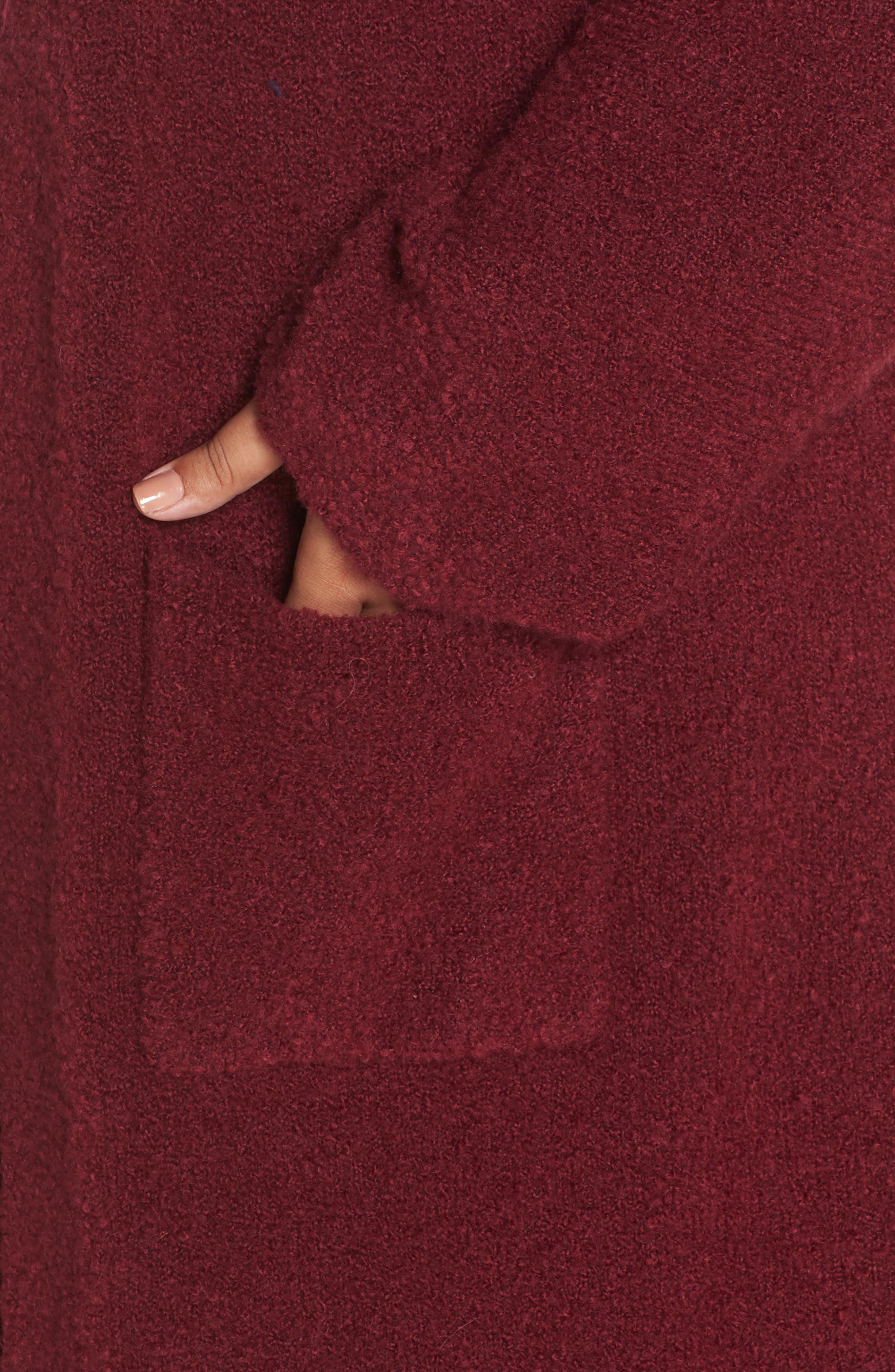 Bouclé Long Cardigan,                             Alternate thumbnail 4, color,                             RED GRAPE