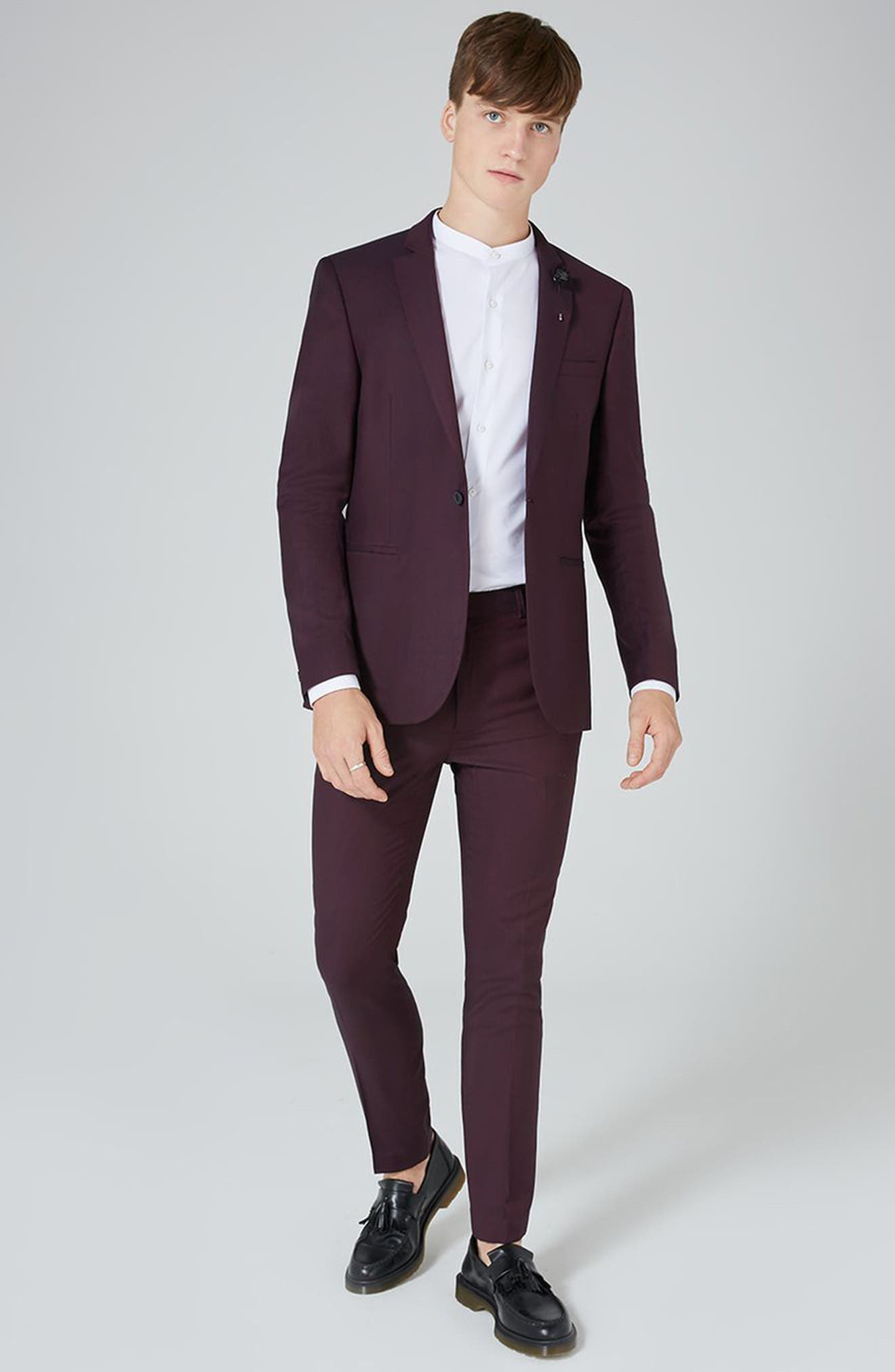 TOPMAN,                             Skinny Fit Plum Suit Trousers,                             Alternate thumbnail 5, color,                             500