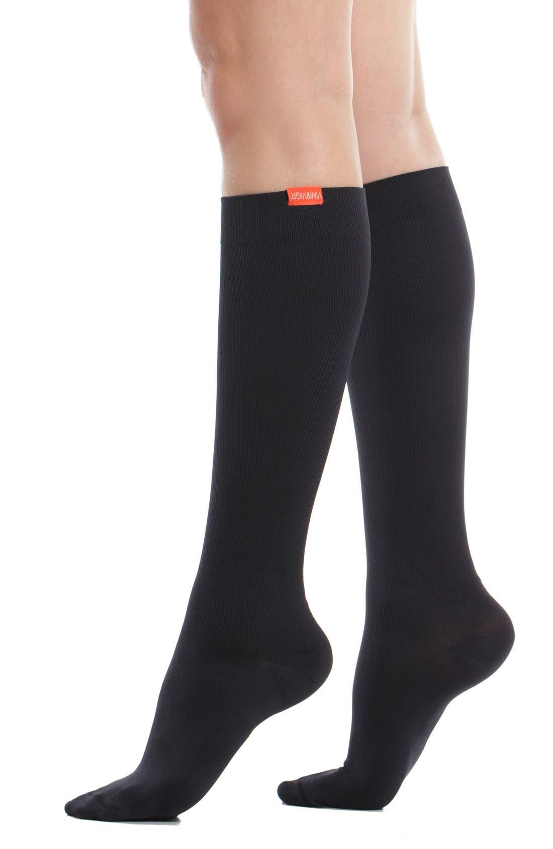 Solid Graduated Compression Trouser Socks,                             Main thumbnail 1, color,                             BLACK